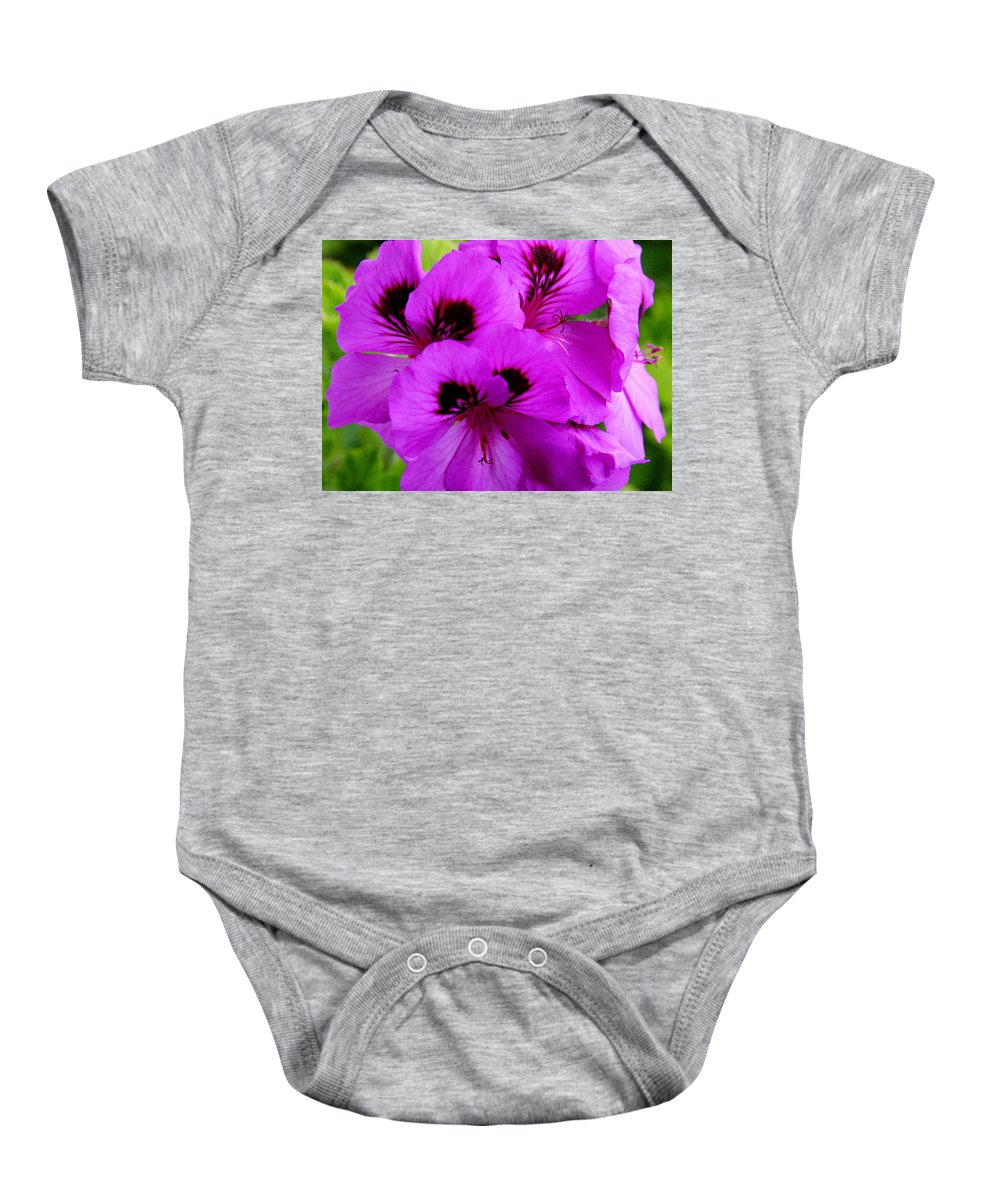 Purple Flowers Baby Onesie featuring the photograph Purple Flowers by Anthony Jones