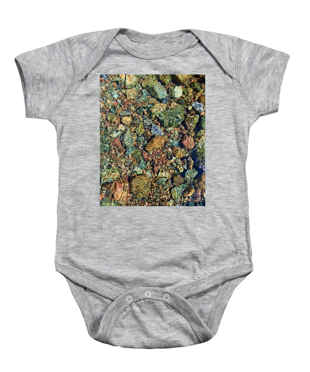 Rocks Baby Onesie featuring the photograph Quarry Rocks Through Water by Paula Joy Welter