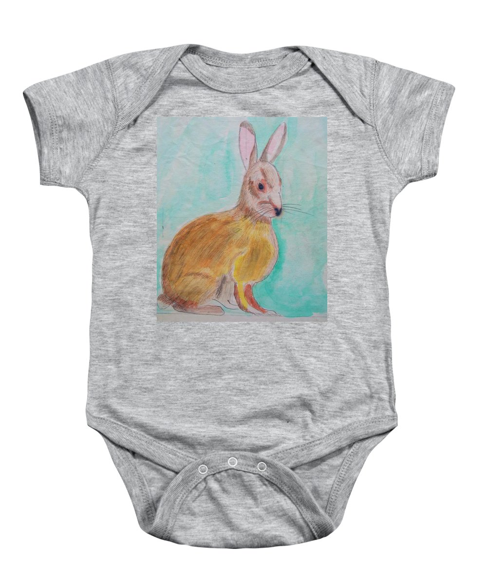 Rabbit Baby Onesie featuring the painting Rabbit Illustration by Eric Schiabor