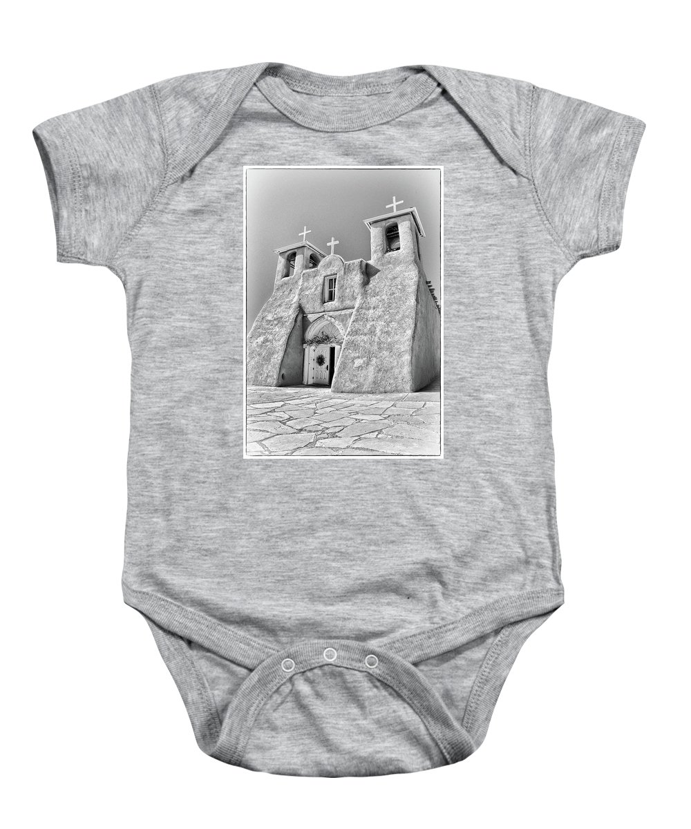 Ranchos Baby Onesie featuring the photograph Ranchos De Taos Church In Black And White by Charles Muhle