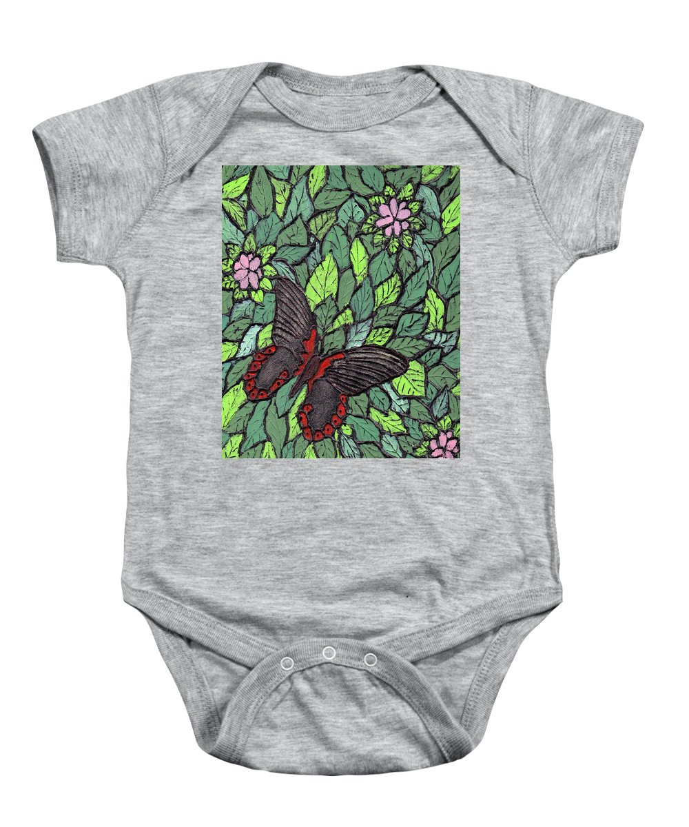 Butterfly Baby Onesie featuring the painting Red Butterfly by Wayne Potrafka