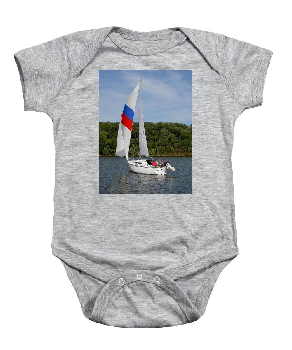 Sails Baby Onesie featuring the photograph Red White And Blue Sails by Carolyn Jacob