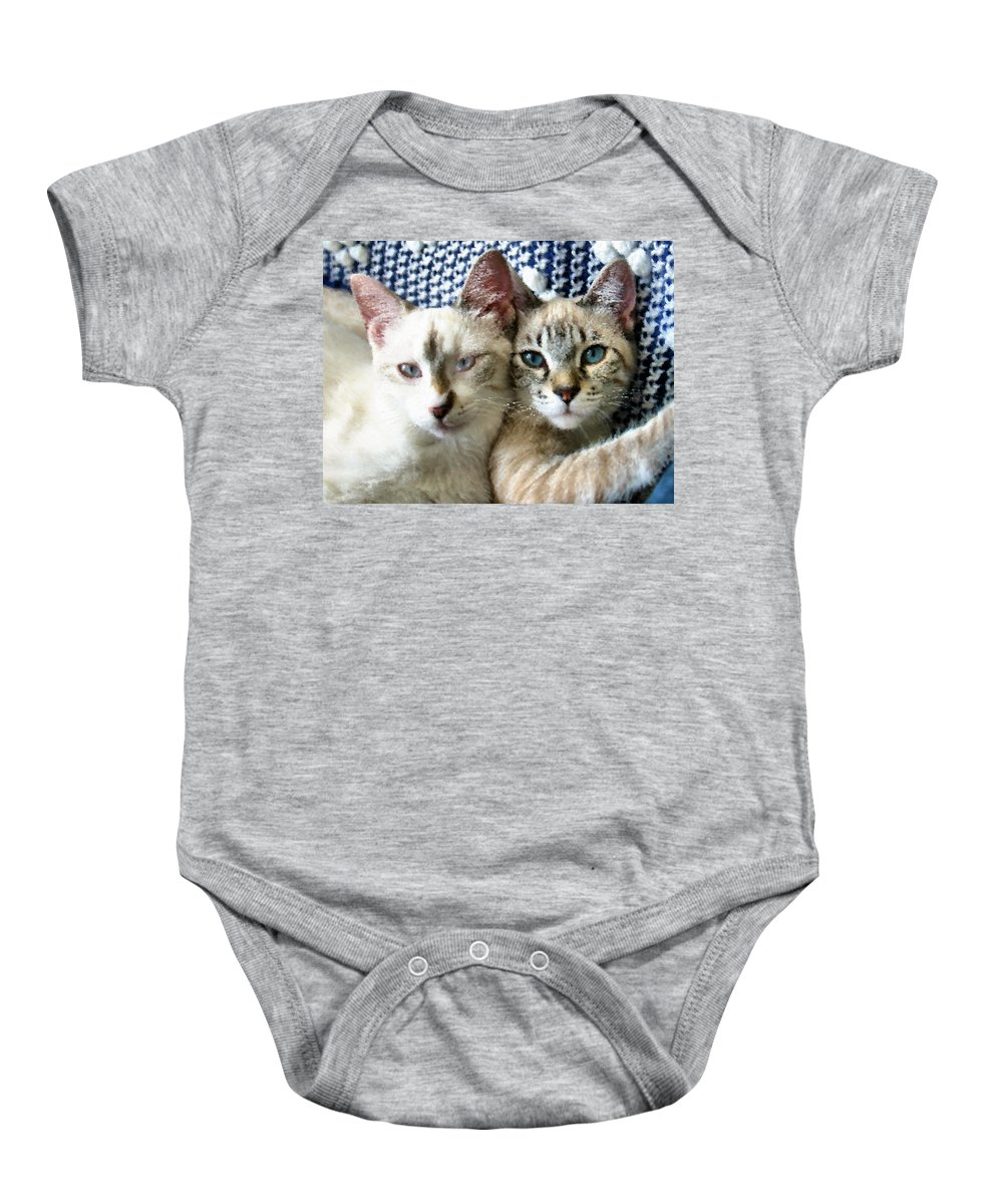 Cat Baby Onesie featuring the photograph Rescued And Spoiled by Kristin Elmquist