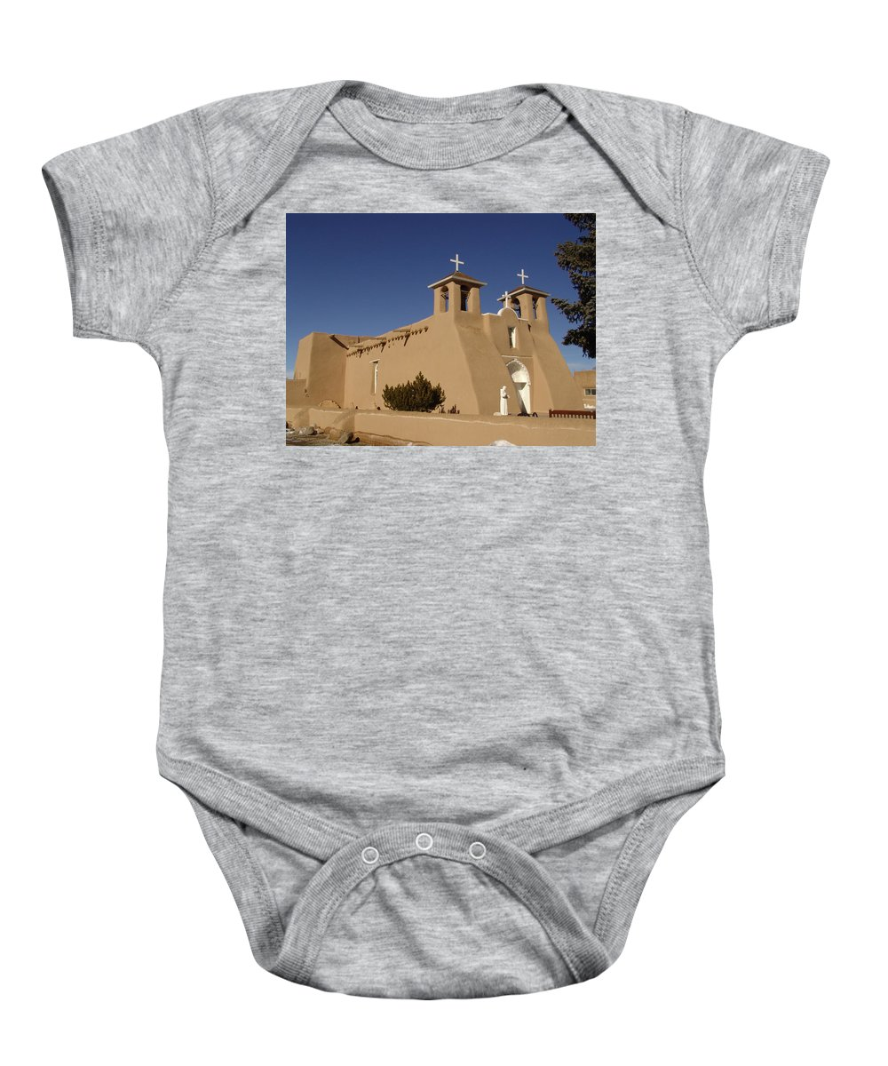 Church Baby Onesie featuring the photograph San Francisco De Asis Mission Church by Carol Milisen