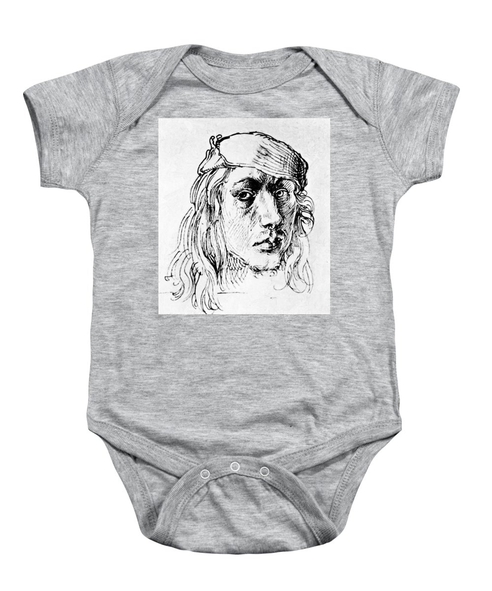 Self Baby Onesie featuring the painting Self Portrait 1493 by Durer Albrecht