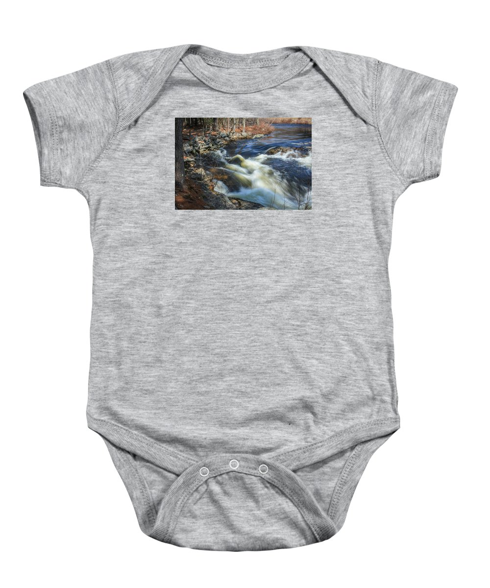 Maine Baby Onesie featuring the photograph Silky Water by Jane Luxton