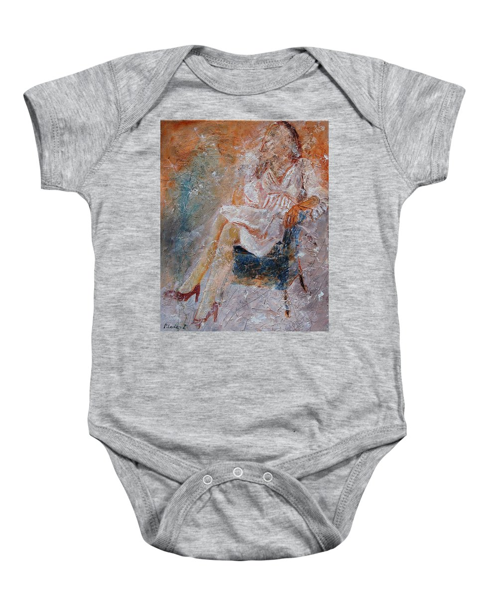 Girl Baby Onesie featuring the painting Sitting Young Girl by Pol Ledent