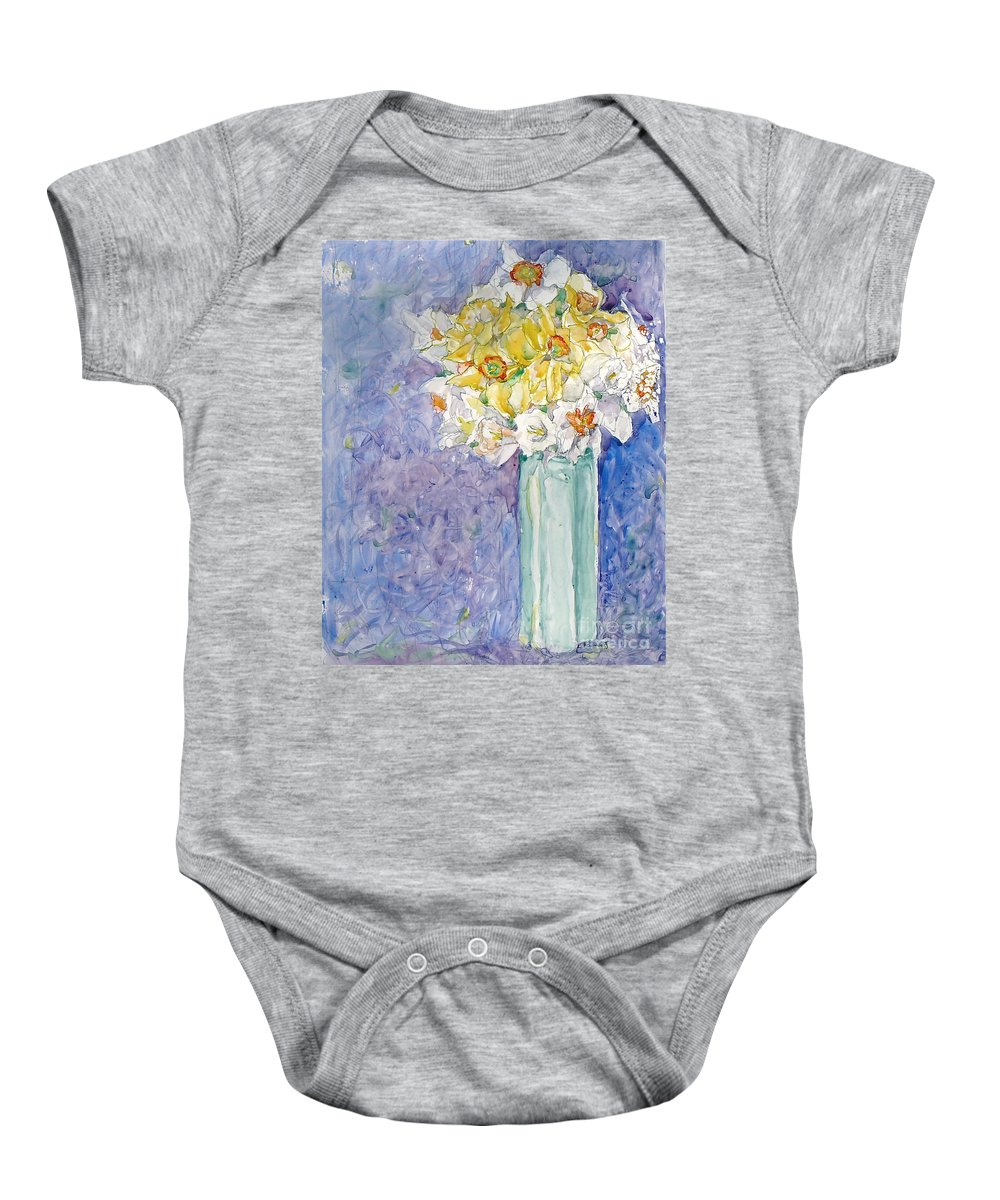 Watercolor Baby Onesie featuring the painting Spring Blossoms by Jan Bennicoff