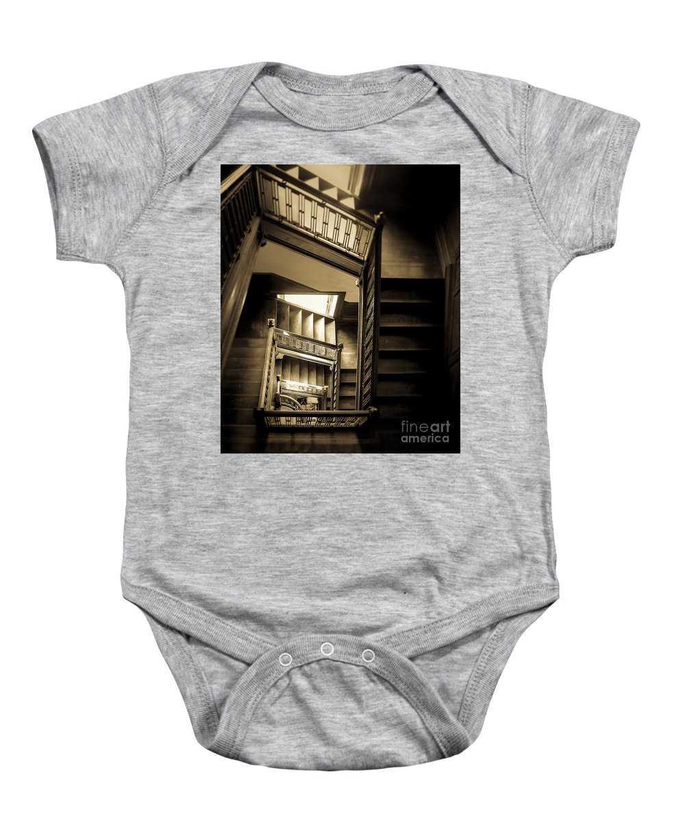 Swannanoa Mansion Baby Onesie featuring the photograph Staircase In Swannanoa Mansion by Jennifer Mitchell