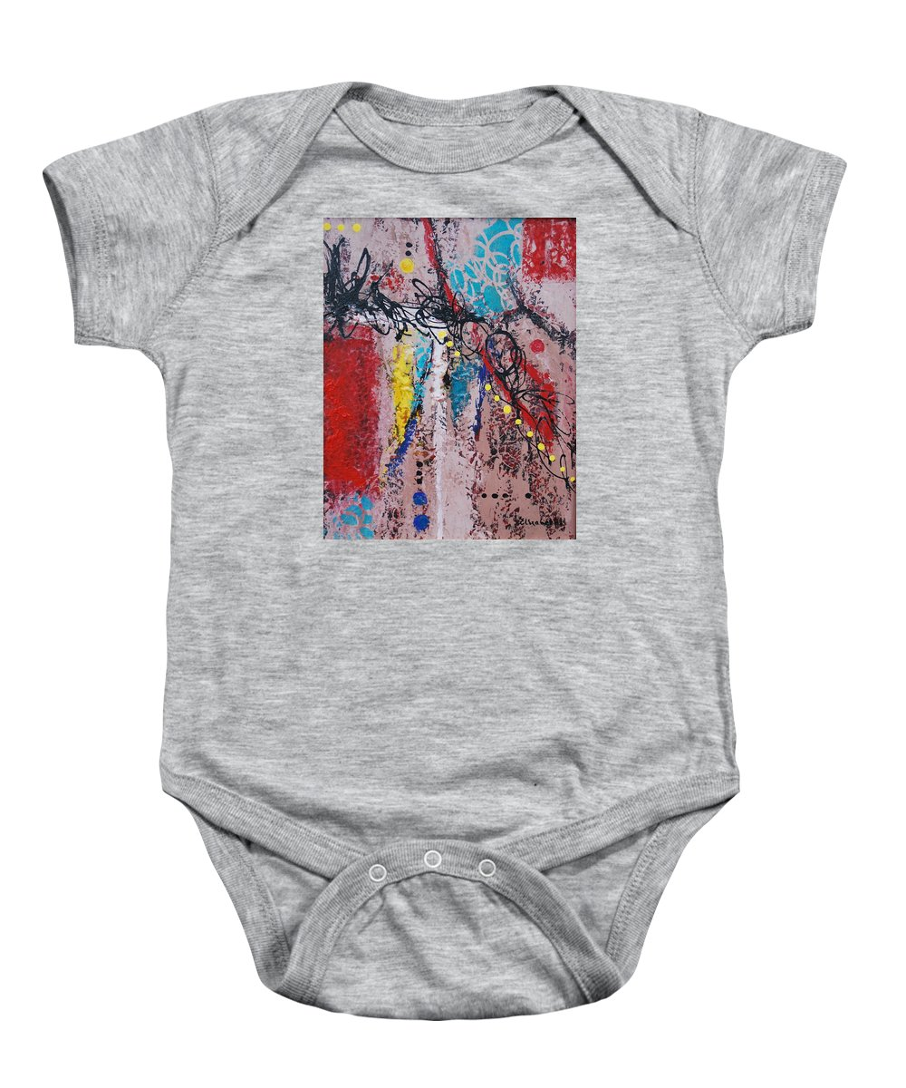 String Baby Onesie featuring the painting Stringed Abstract by Beth Maddox