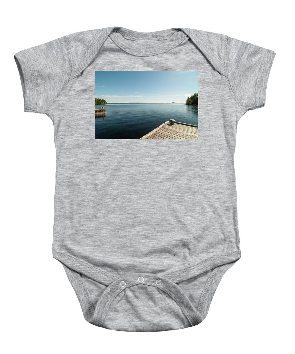 Dock Baby Onesie featuring the photograph Sunny Day At The Dock by Ilari