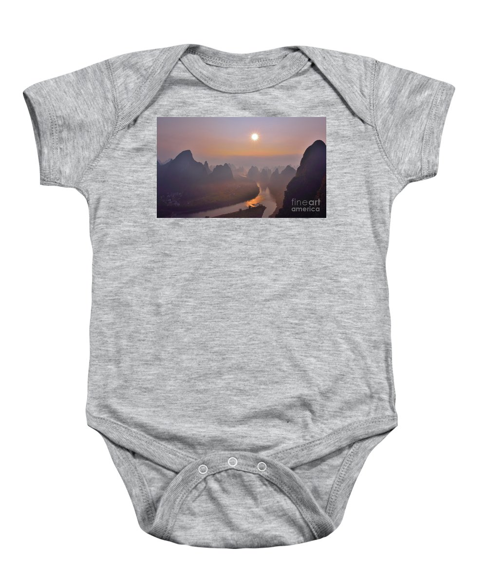 Sunrise Baby Onesie featuring the photograph Sunrise Over Li River by Yinguo Huang