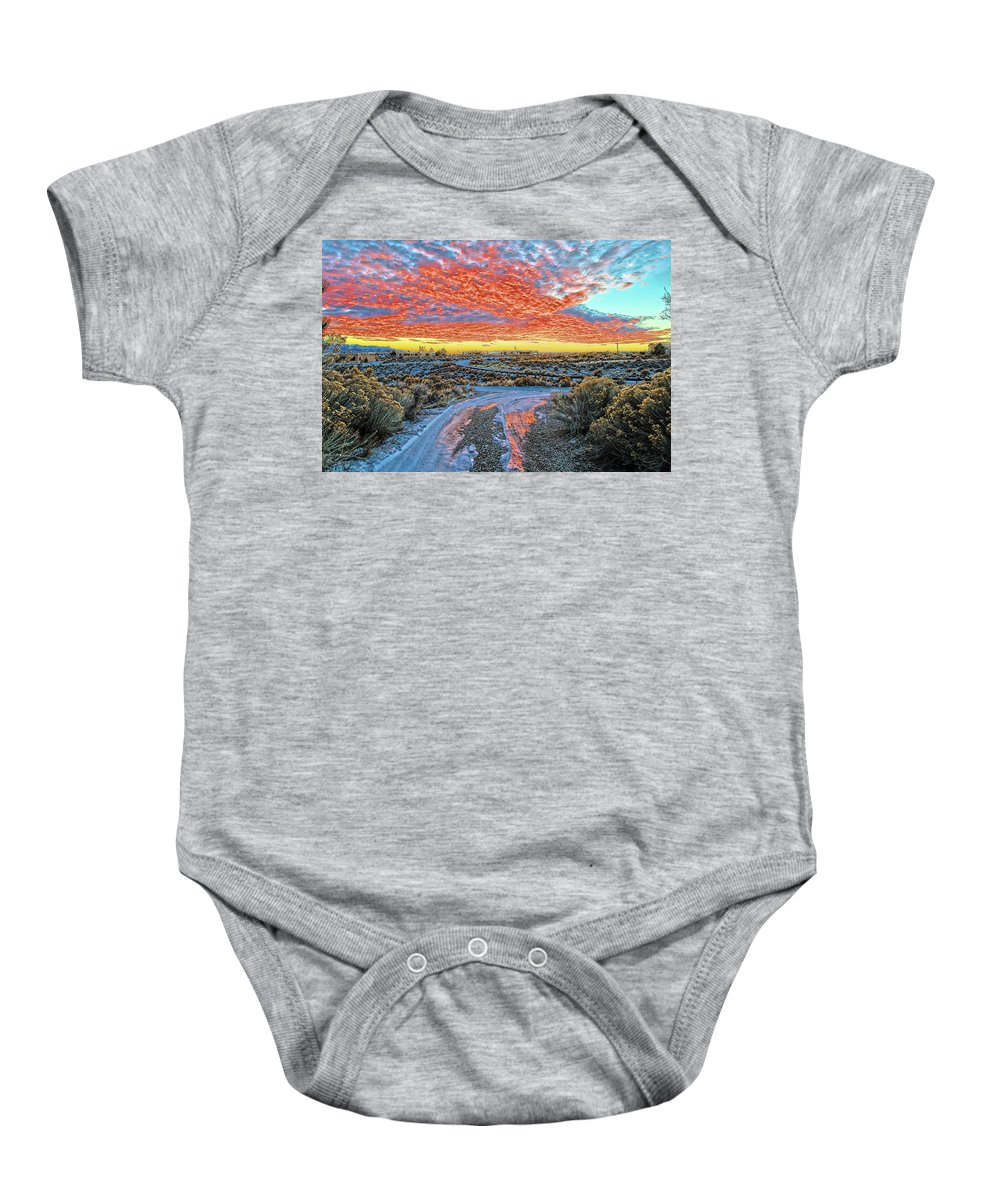 Sunset Baby Onesie featuring the photograph Sunset In El Prado by Charles Muhle