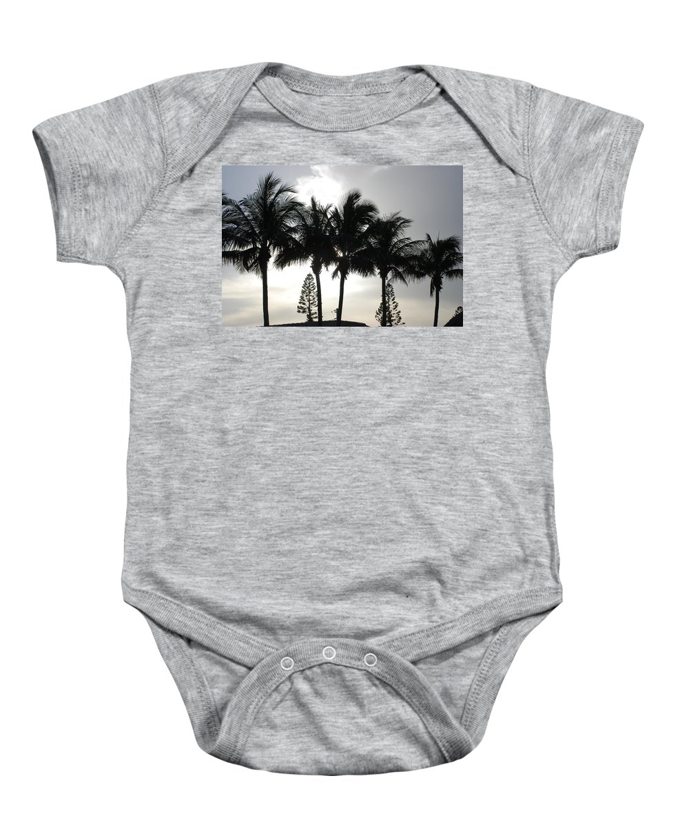 Sky Baby Onesie featuring the photograph Sunset Thru The Trees by Rob Hans