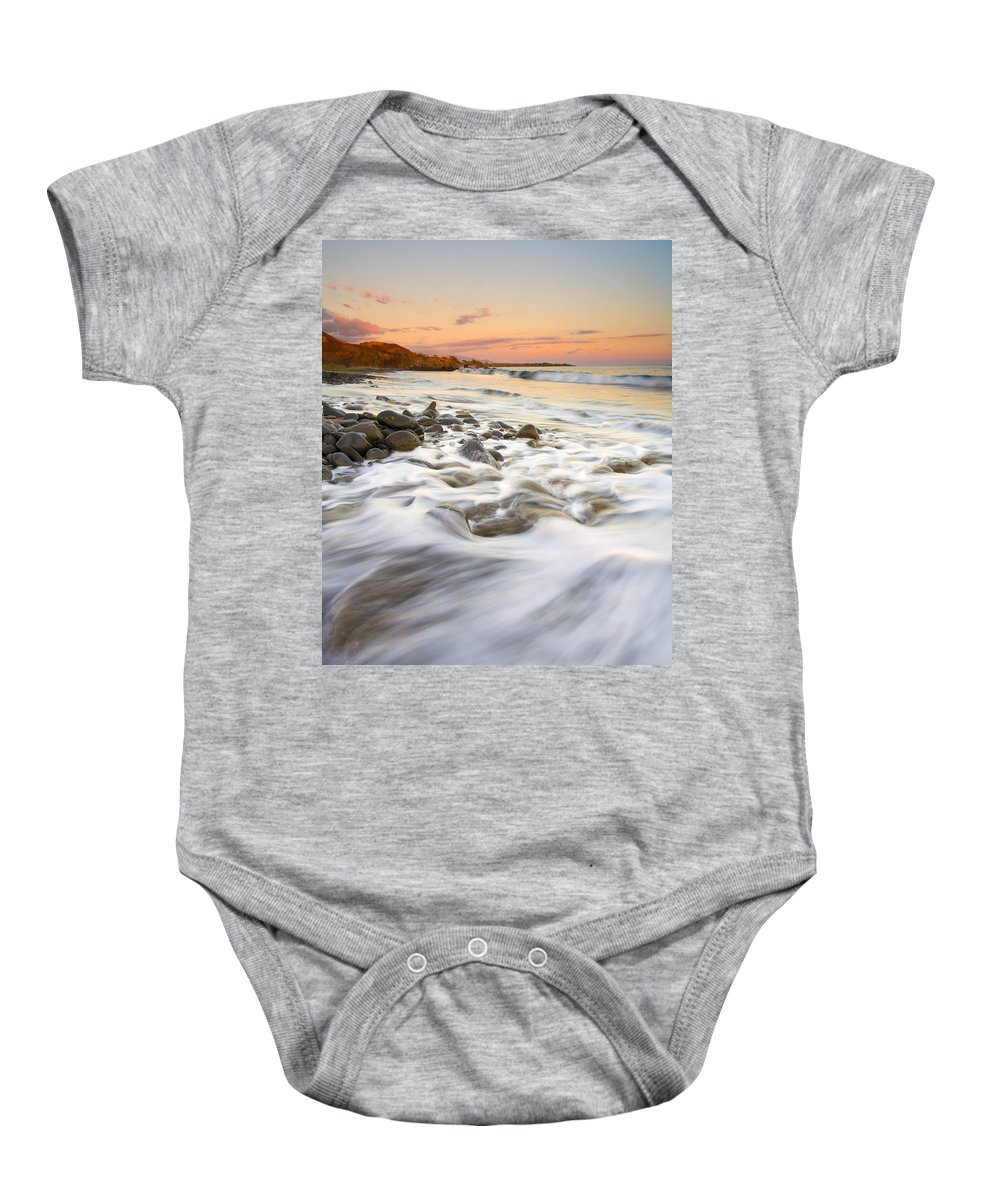 Beach Baby Onesie featuring the photograph Sunset Tides by Mike Dawson