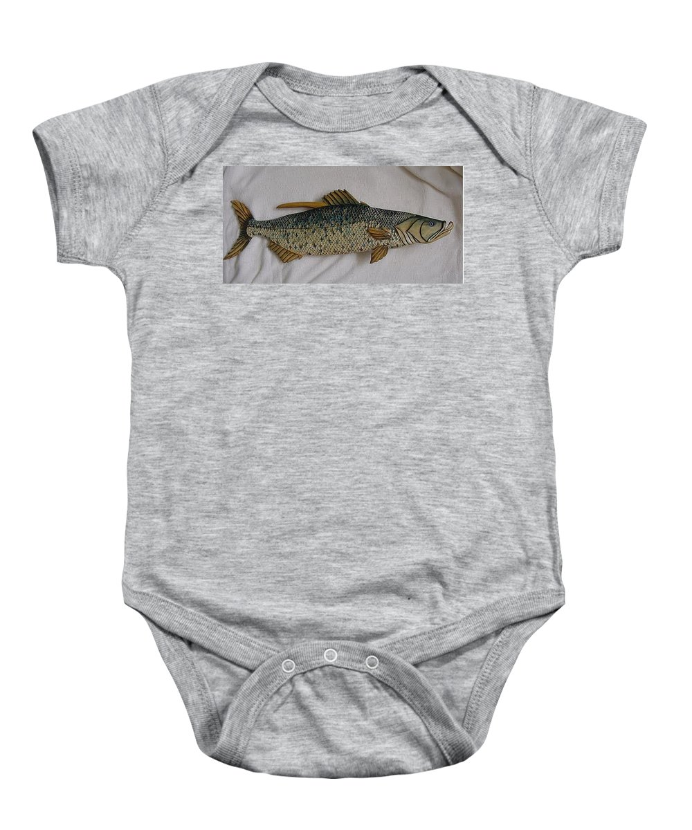 Tarpon Baby Onesie featuring the relief Tarpon Number Nine Wooden Fish by Lisa Ruggiero