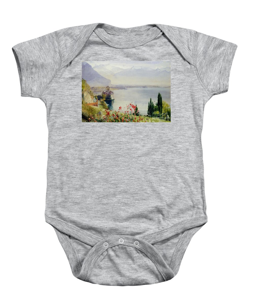 The Castle At Chillon Baby Onesie featuring the painting The Castle At Chillon by John William Inchbold