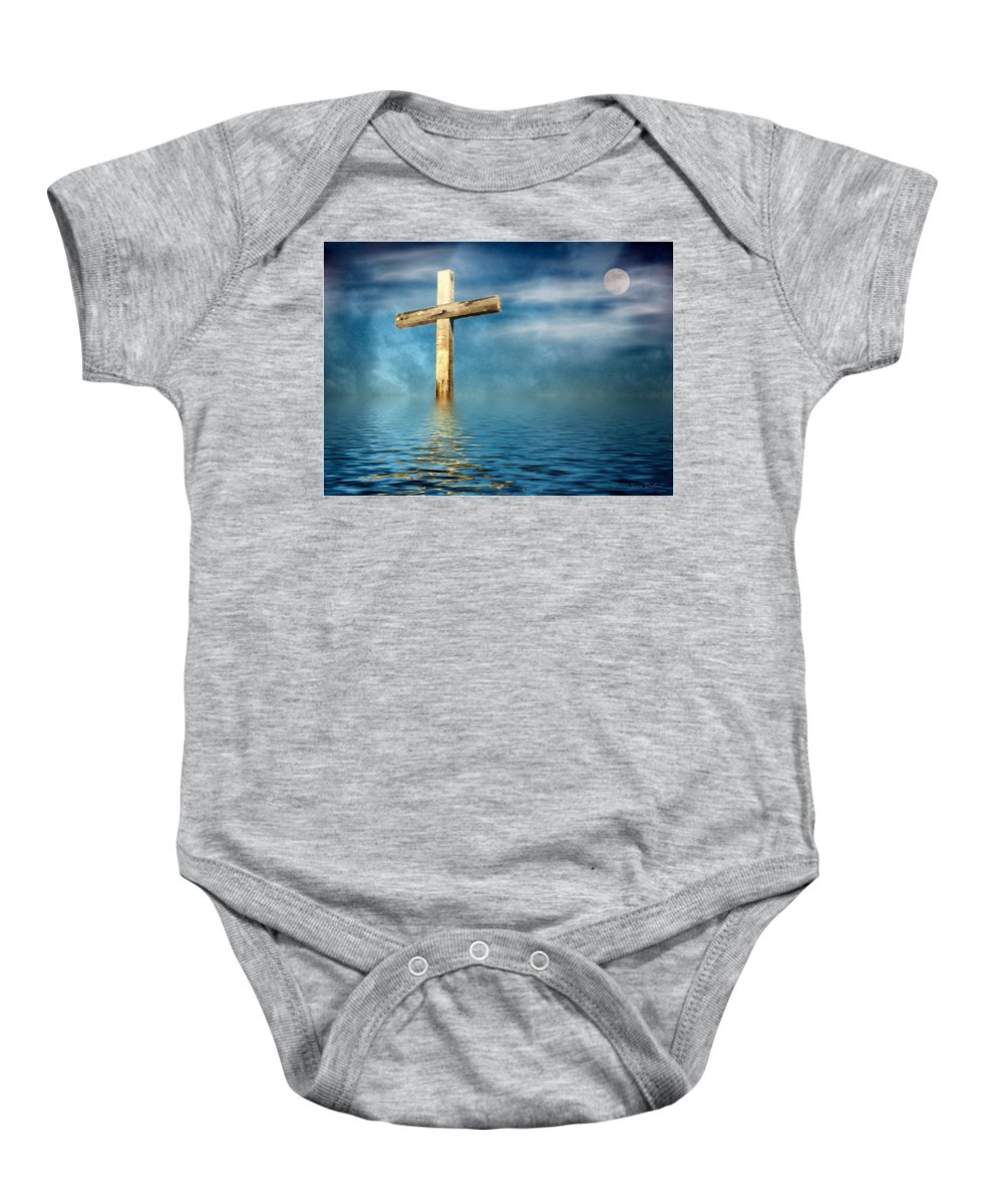 Cross Baby Onesie featuring the photograph The Cross by Joyce Dickens