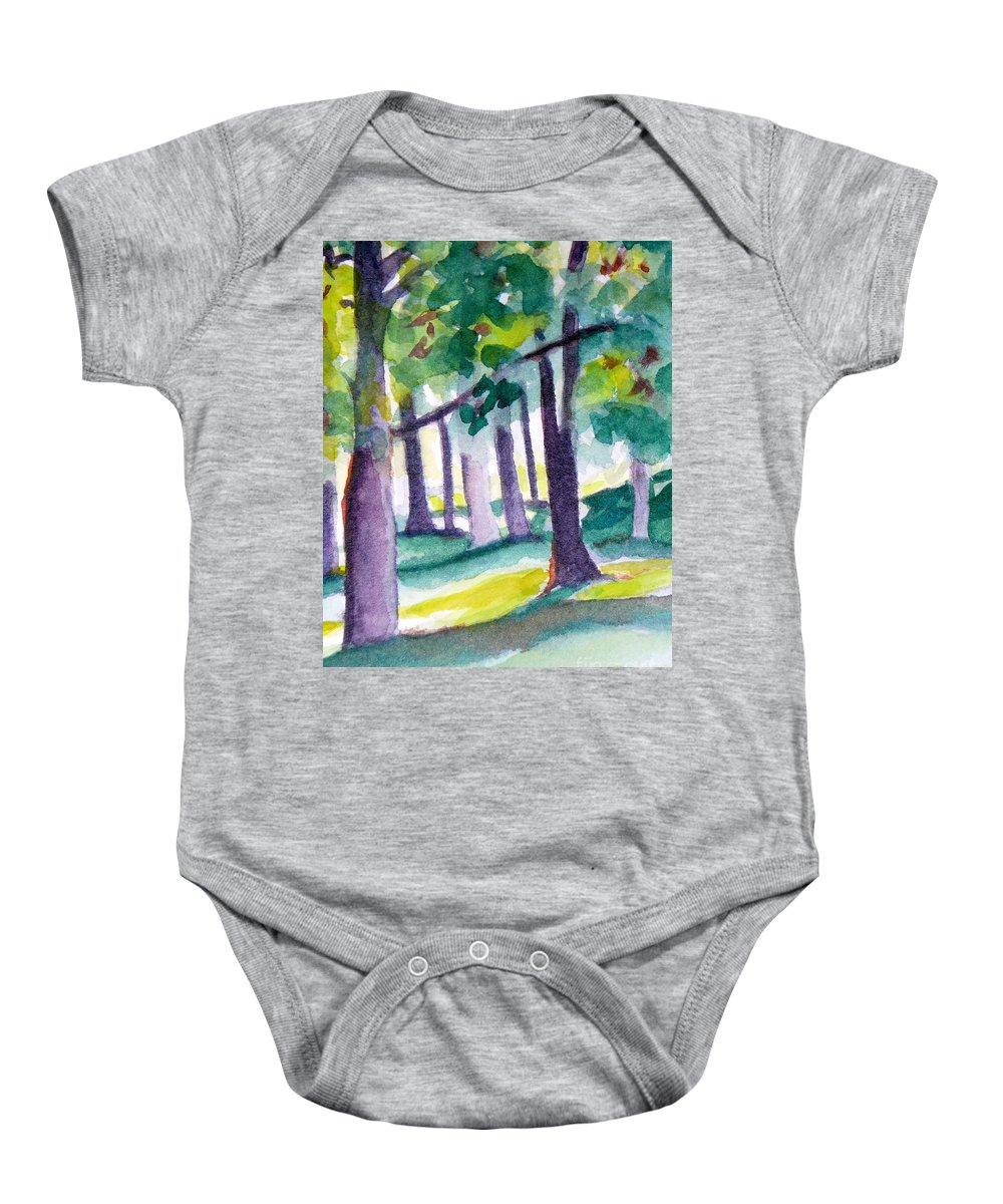 Nature Baby Onesie featuring the painting The Perfect Day by Jan Bennicoff
