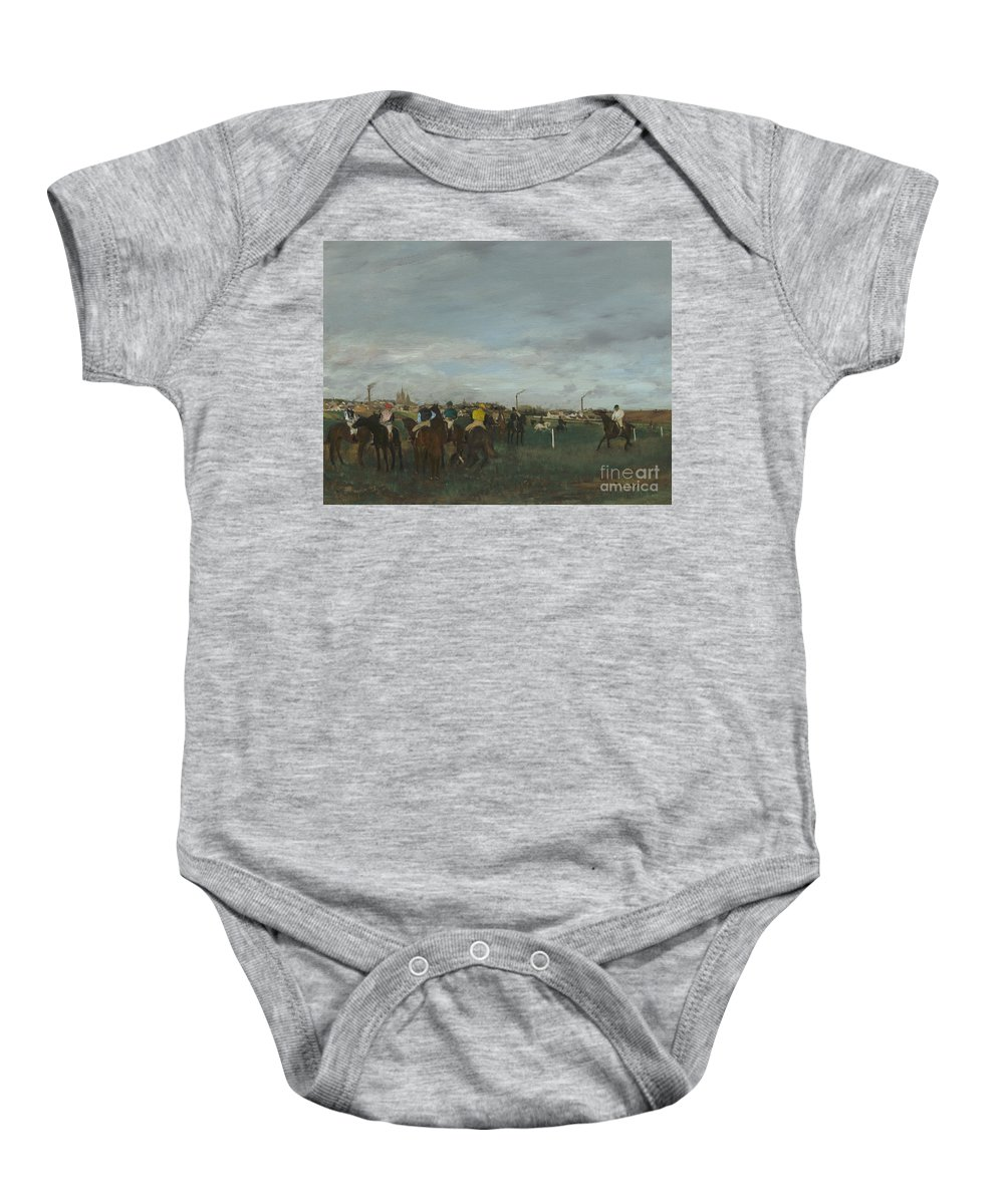 Edgar Degas Baby Onesie featuring the painting The Races by Edgar Degas