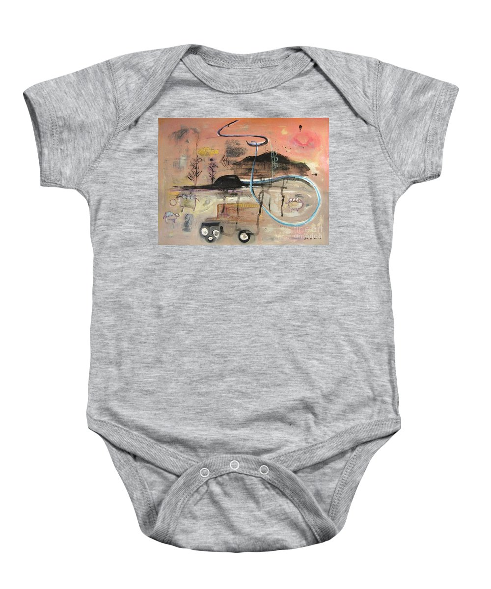 Acrylic Paper Canvas Abstract Contemporary Landscape Dusk Twilight Countryside Baby Onesie featuring the painting The Tempo Of A Day by Seon-Jeong Kim
