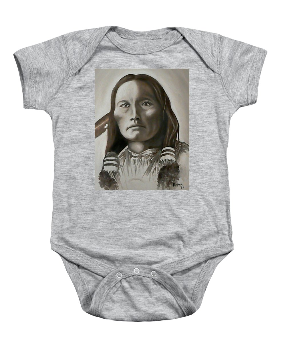 Three Fingers Baby Onesie featuring the painting Three Fingers by Michael TMAD Finney