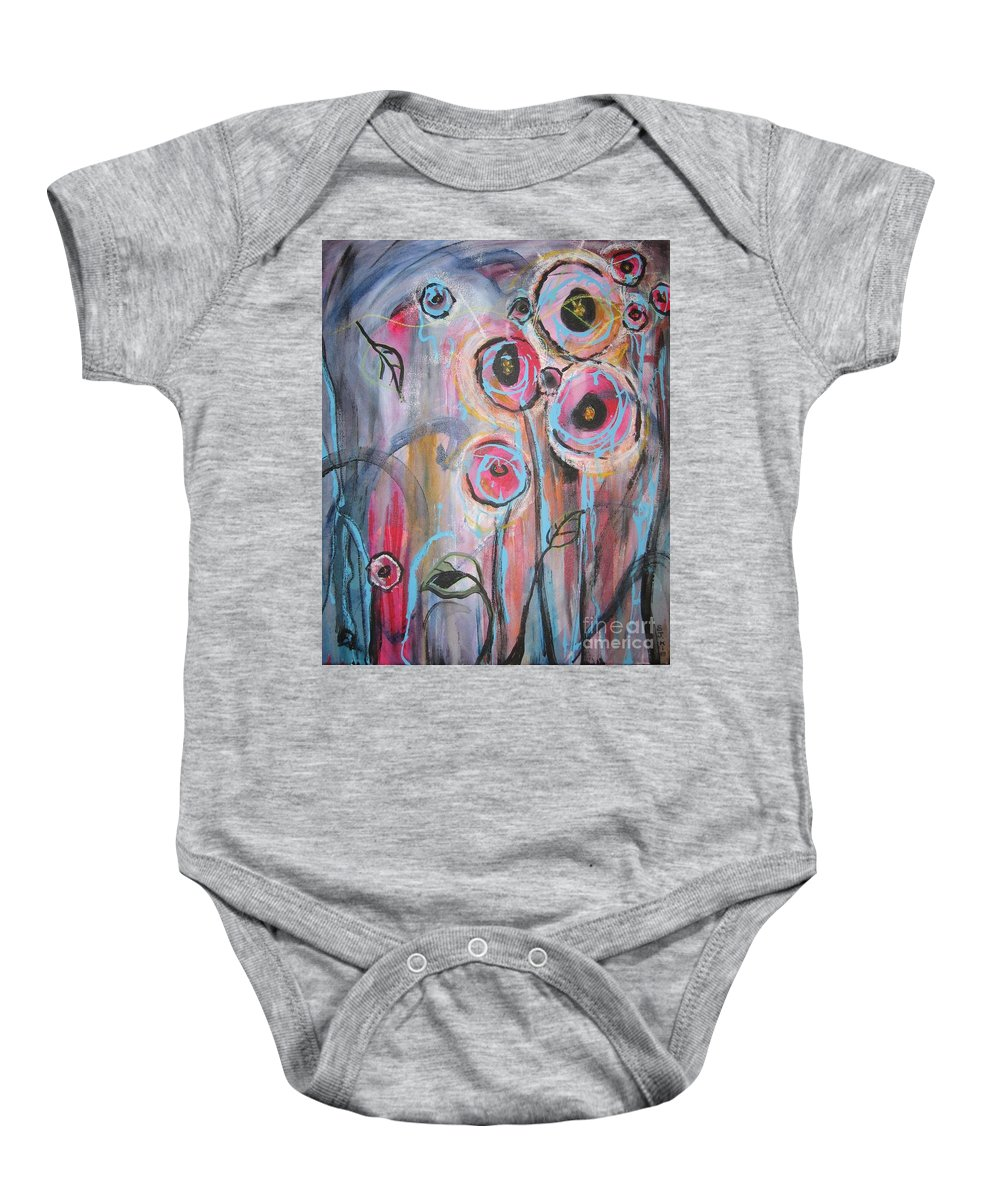 Aabstract Paintings Baby Onesie featuring the painting Too Many Temptations by Seon-Jeong Kim