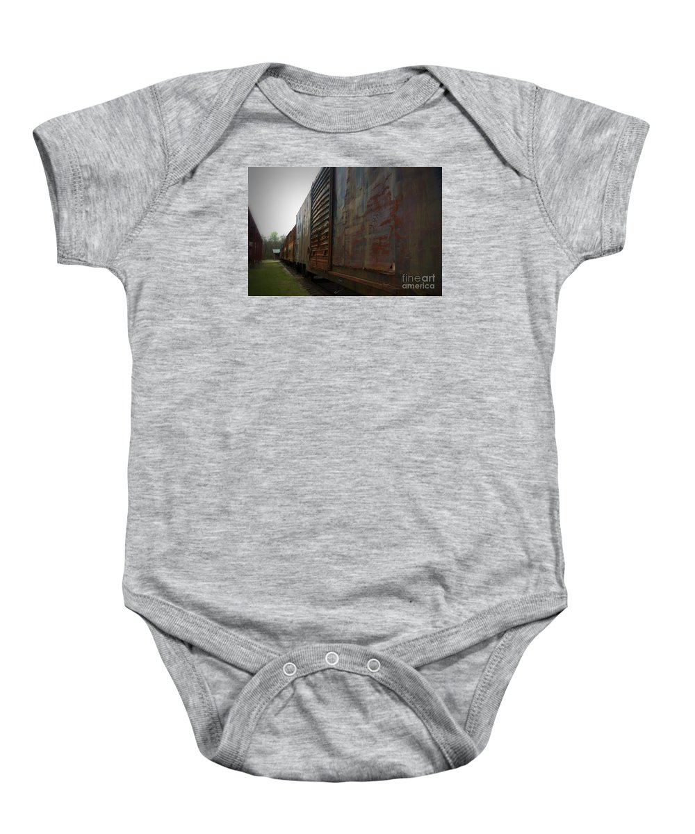 Train Baby Onesie featuring the photograph Trains 12 Vign by Jay Mann
