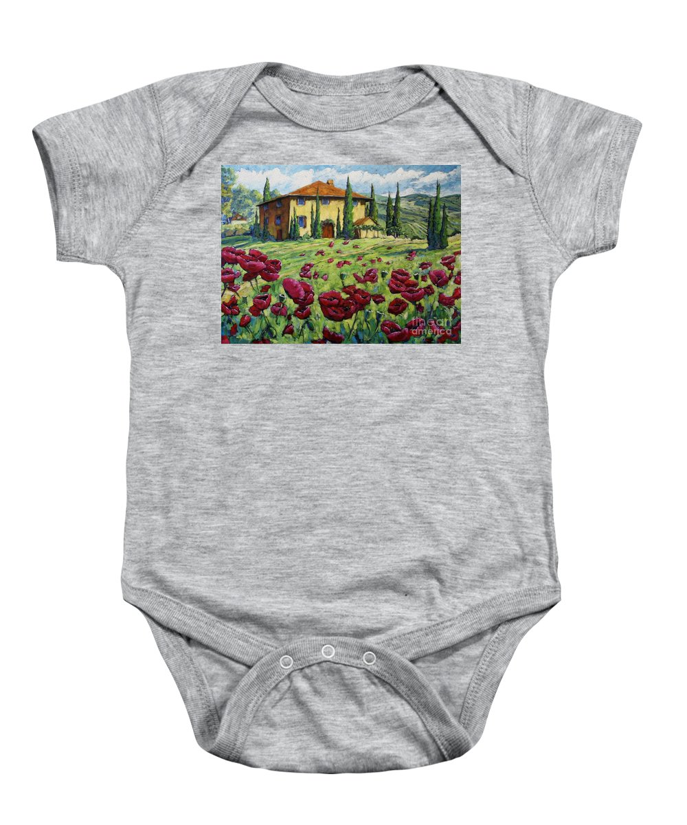 Art Baby Onesie featuring the painting Tuscan Poppies by Richard T Pranke