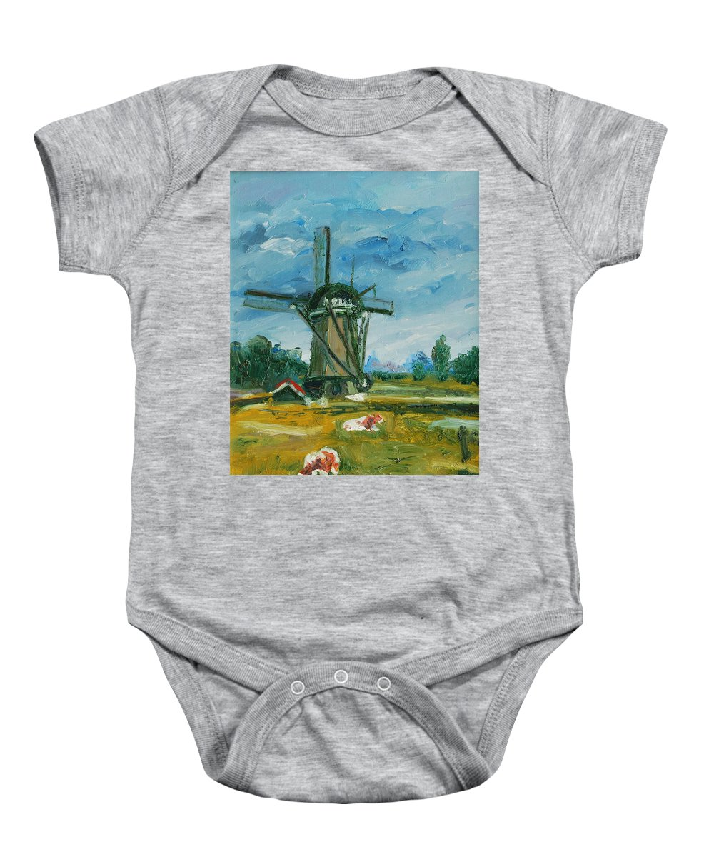 Farm Baby Onesie featuring the painting Two Cows by Rick Nederlof