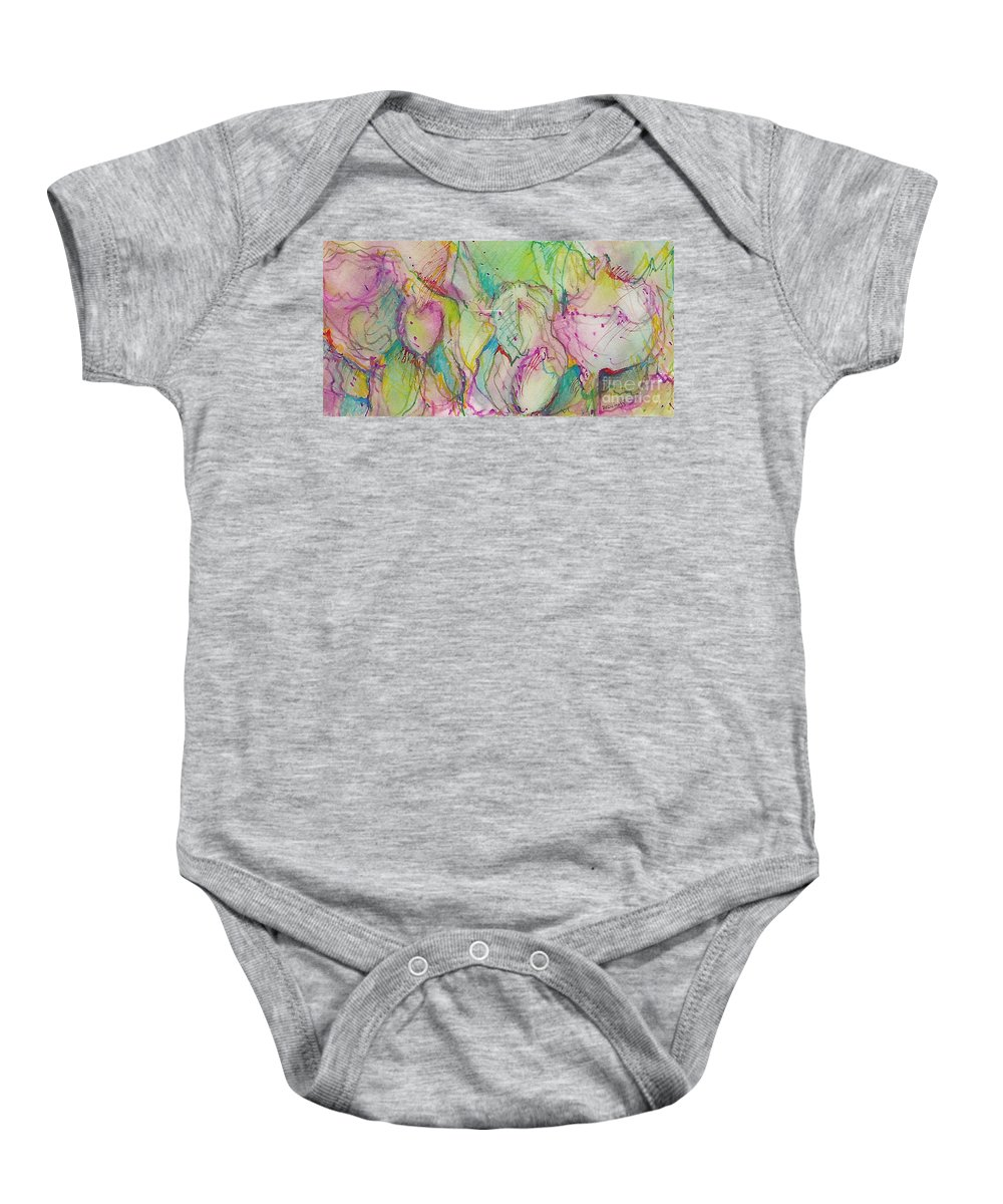 Abstract Baby Onesie featuring the painting Two Lips by Jan Bennicoff