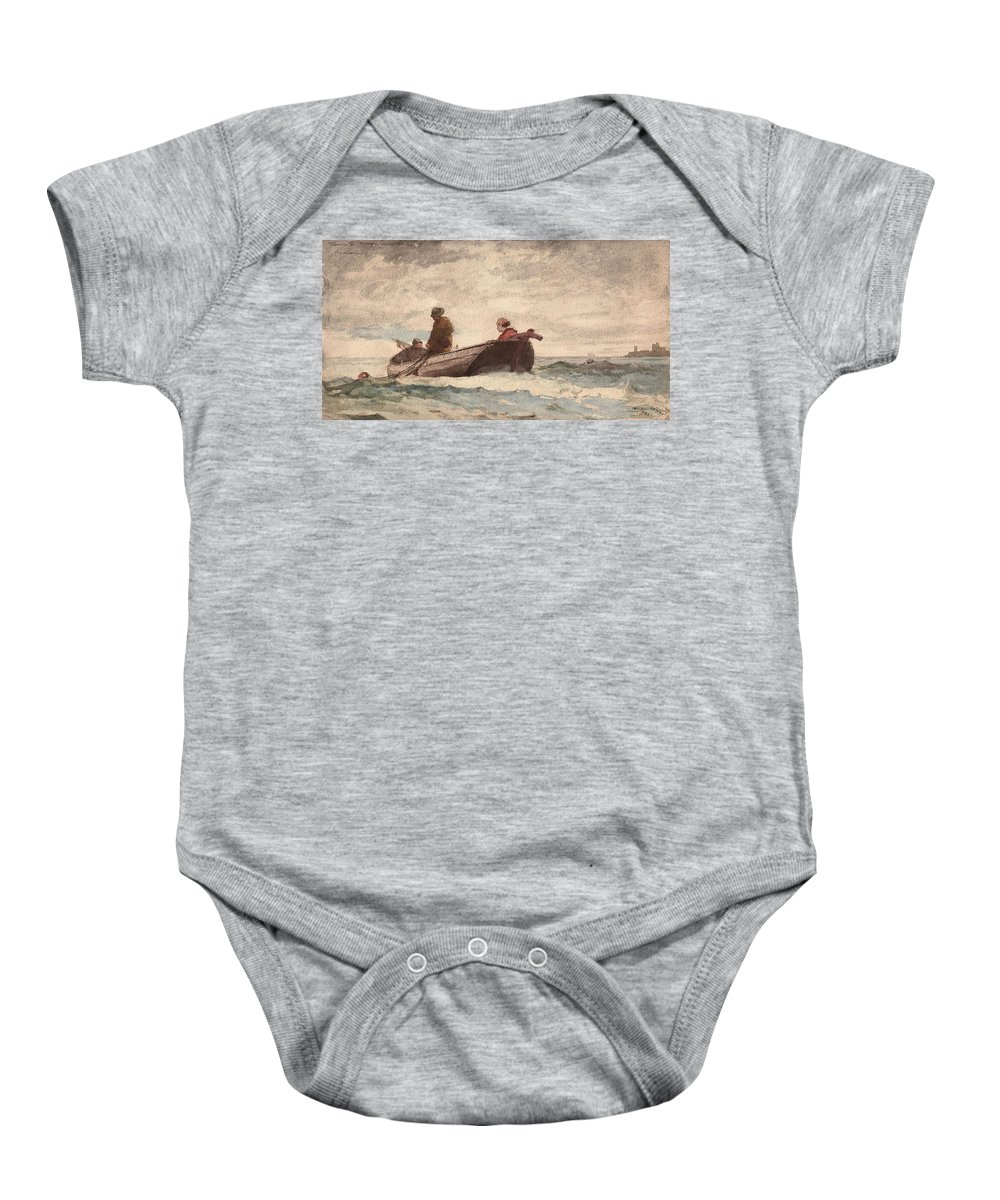 Winslow Homer American Baby Onesie featuring the painting Tynemouth Priory by Winslow Homer
