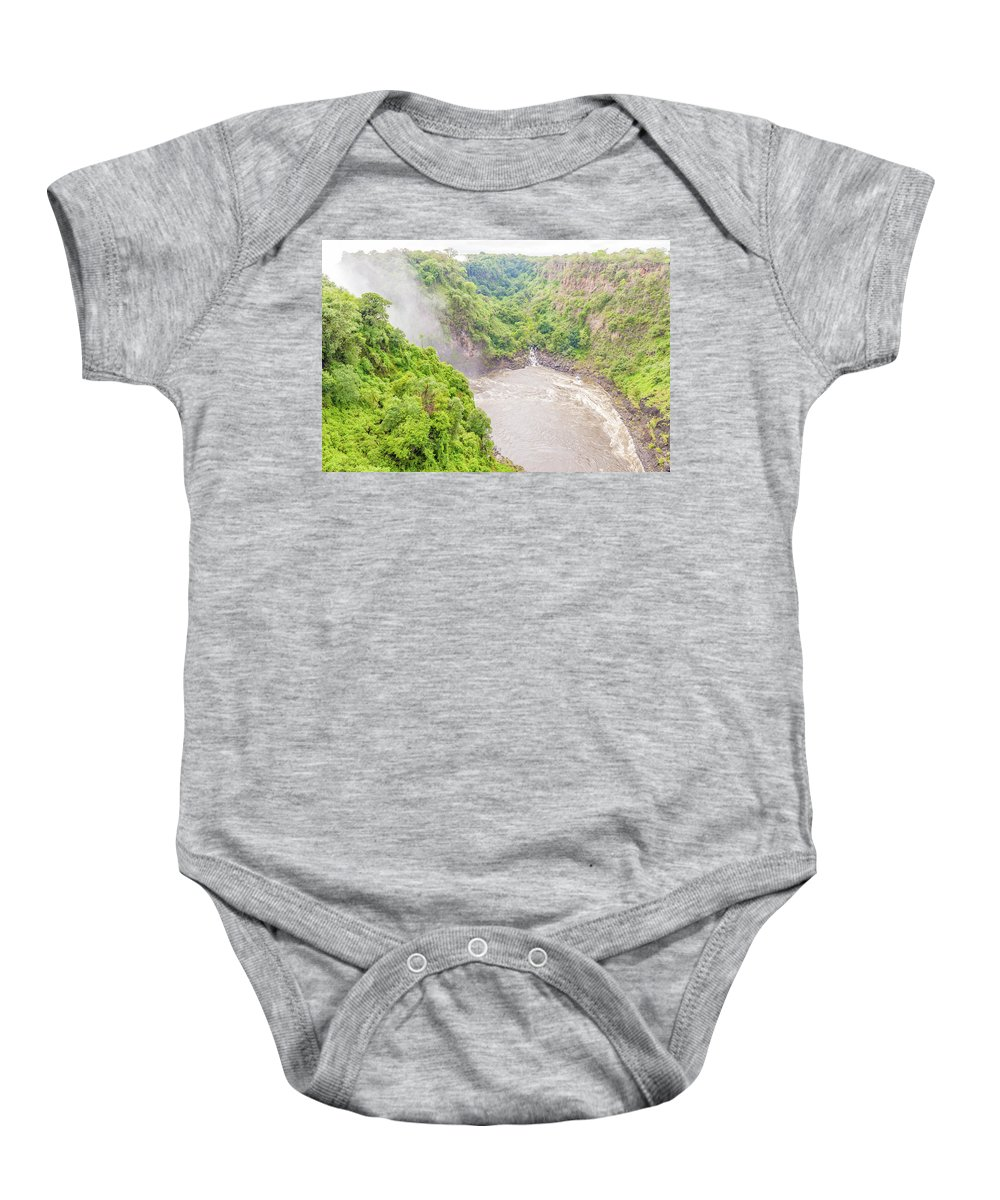 Victoria Falls Baby Onesie featuring the photograph Victoria Falls In Zambia by Marek Poplawski
