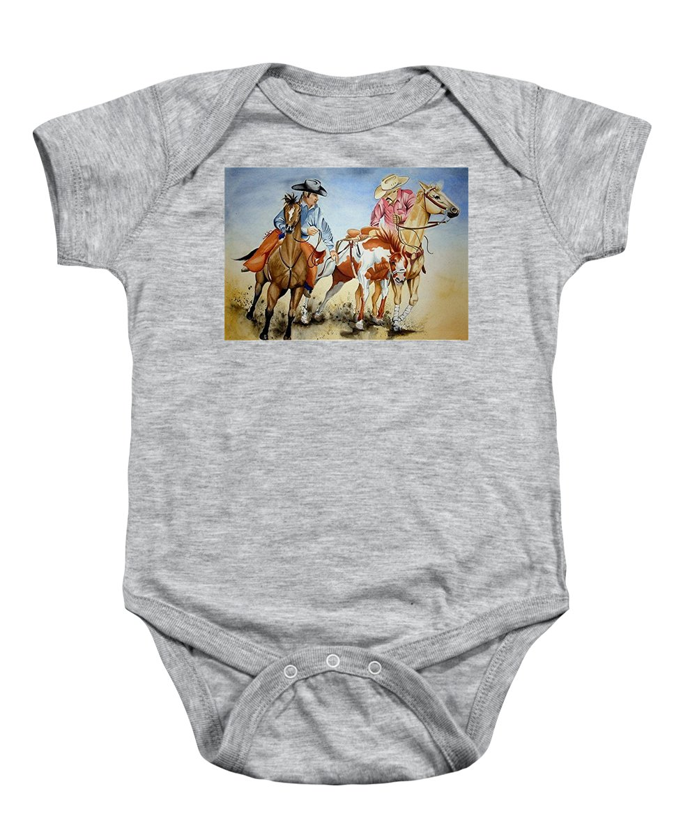Art Baby Onesie featuring the painting Victory Dance by Jimmy Smith