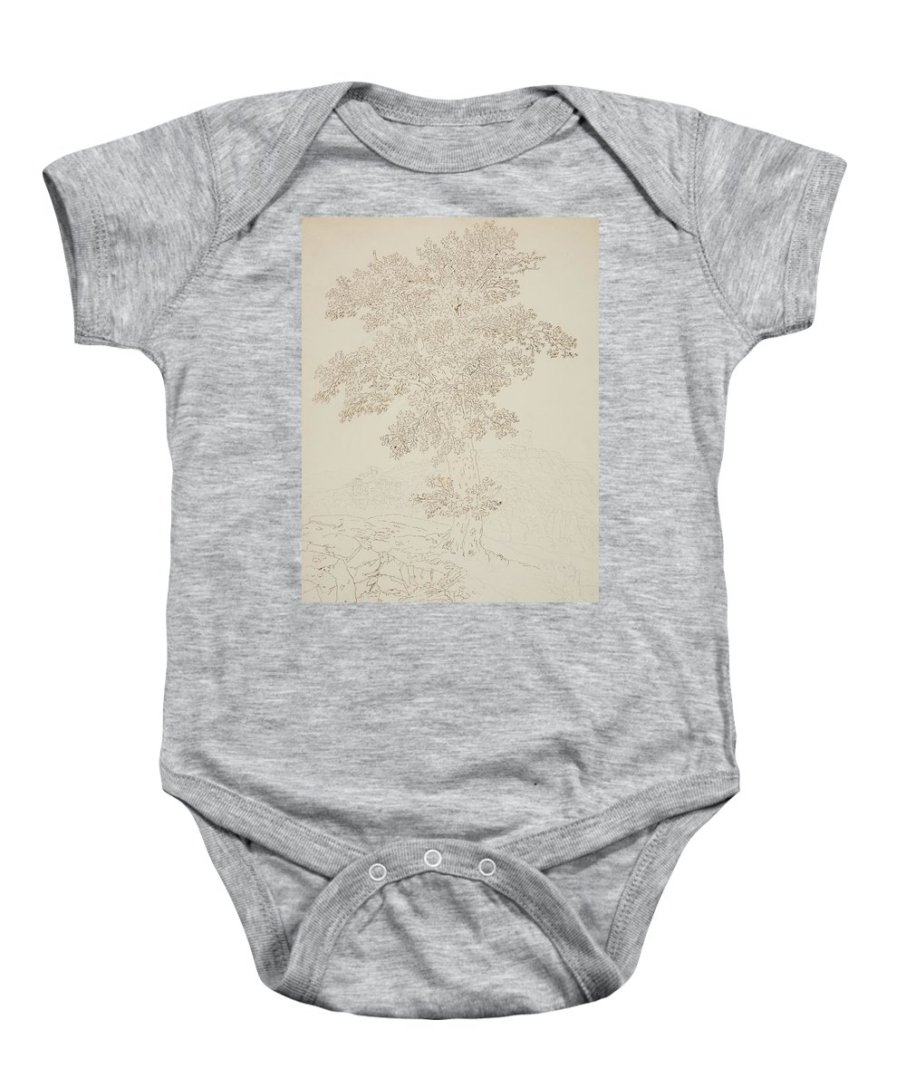 Jacob Philipp Hackert Baby Onesie featuring the painting View Of Montelupo And Capraia by Jacob Philipp