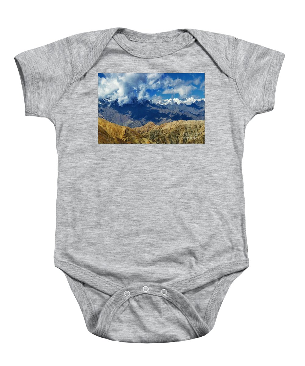 Ice Peak Baby Onesie featuring the photograph View Of Snow Peaks Leh Ladakh Jammu And Kashmir India by Rudra Narayan Mitra