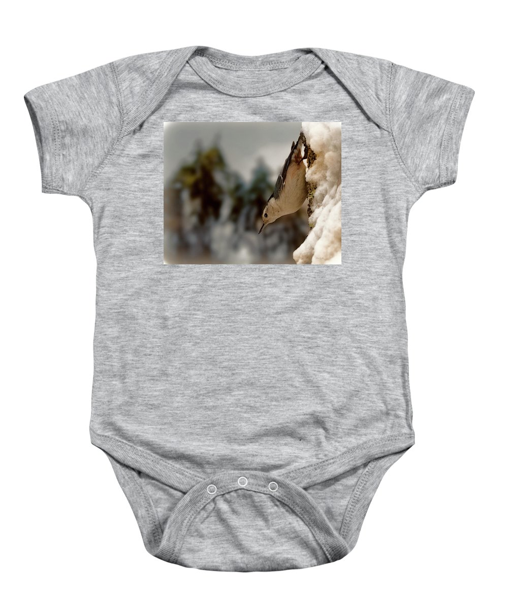 Nuthatch Baby Onesie featuring the photograph White Breasted Nuthatch In The Snow by Bob Orsillo