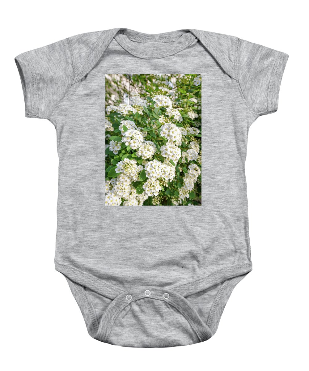 Rosaceae Baby Onesie featuring the photograph White Spiraea Flower by Alain De Maximy