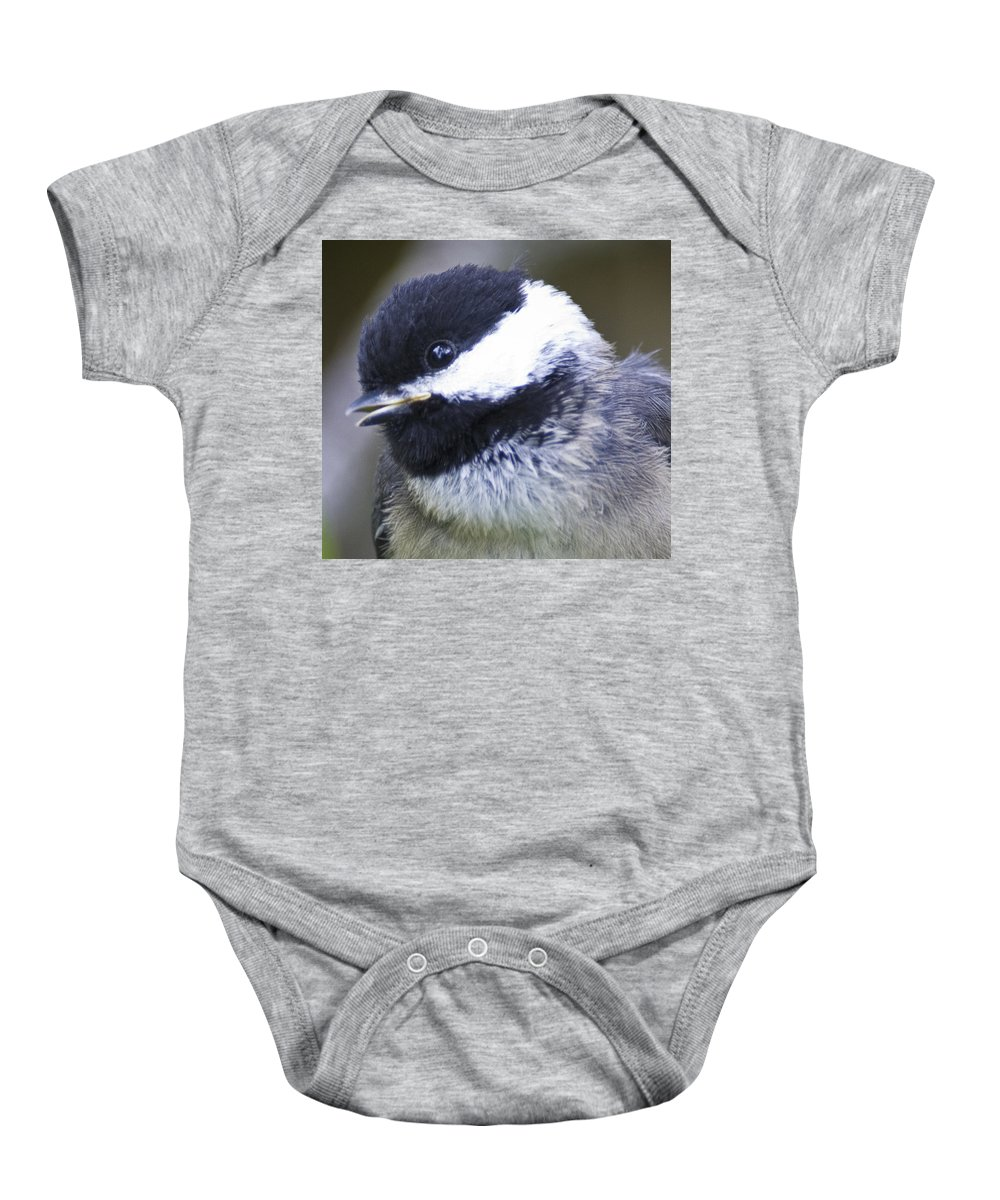 Chickadee Baby Onesie featuring the photograph young Chickadee by Rob Mclean