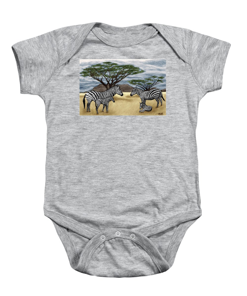 Zebra African Outback Baby Onesie featuring the drawing Zebra African Outback by Peter Piatt