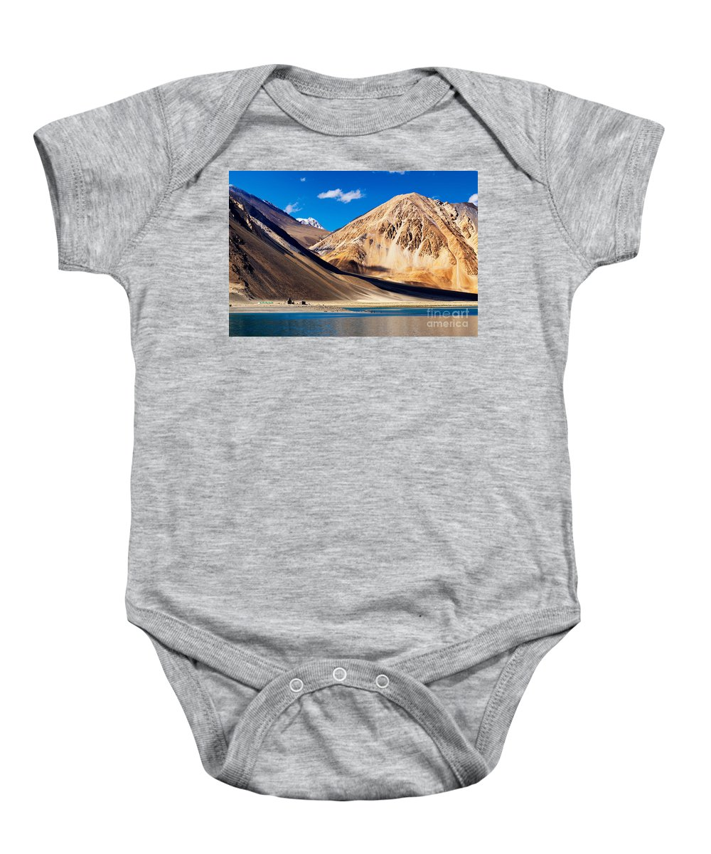 Lake Baby Onesie featuring the photograph Mountains Pangong Tso Lake Leh Ladakh Jammu And Kashmir India by Rudra Narayan Mitra