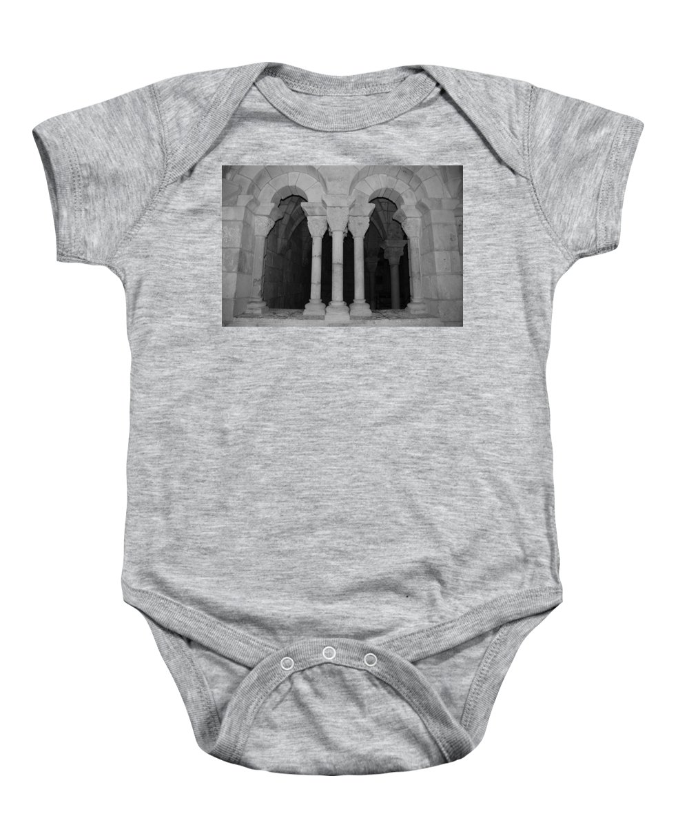 Black And White Baby Onesie featuring the photograph Miami Monastery by Rob Hans