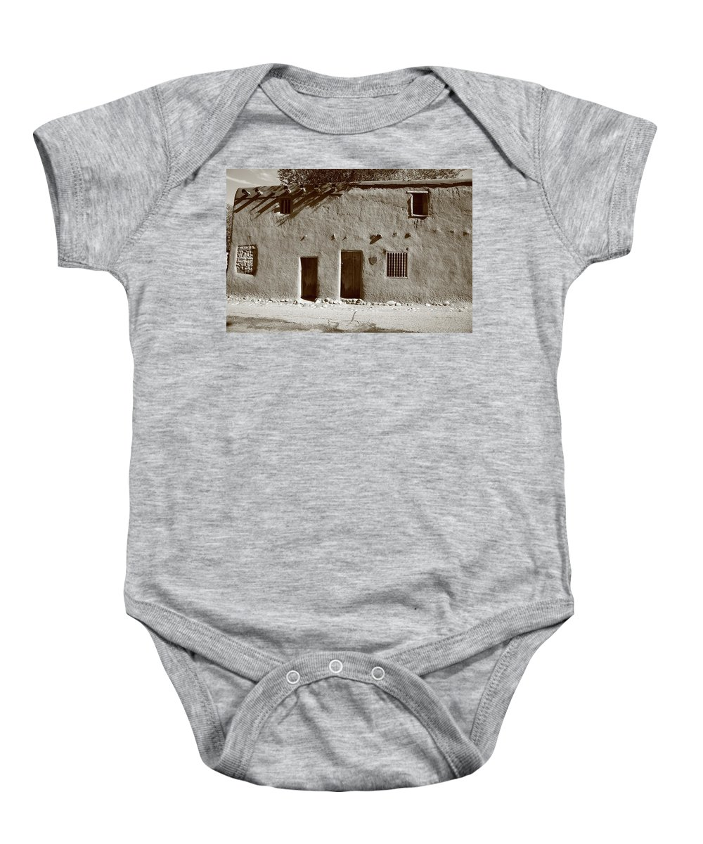 Adobe Baby Onesie featuring the photograph Santa Fe - Adobe Building by Frank Romeo