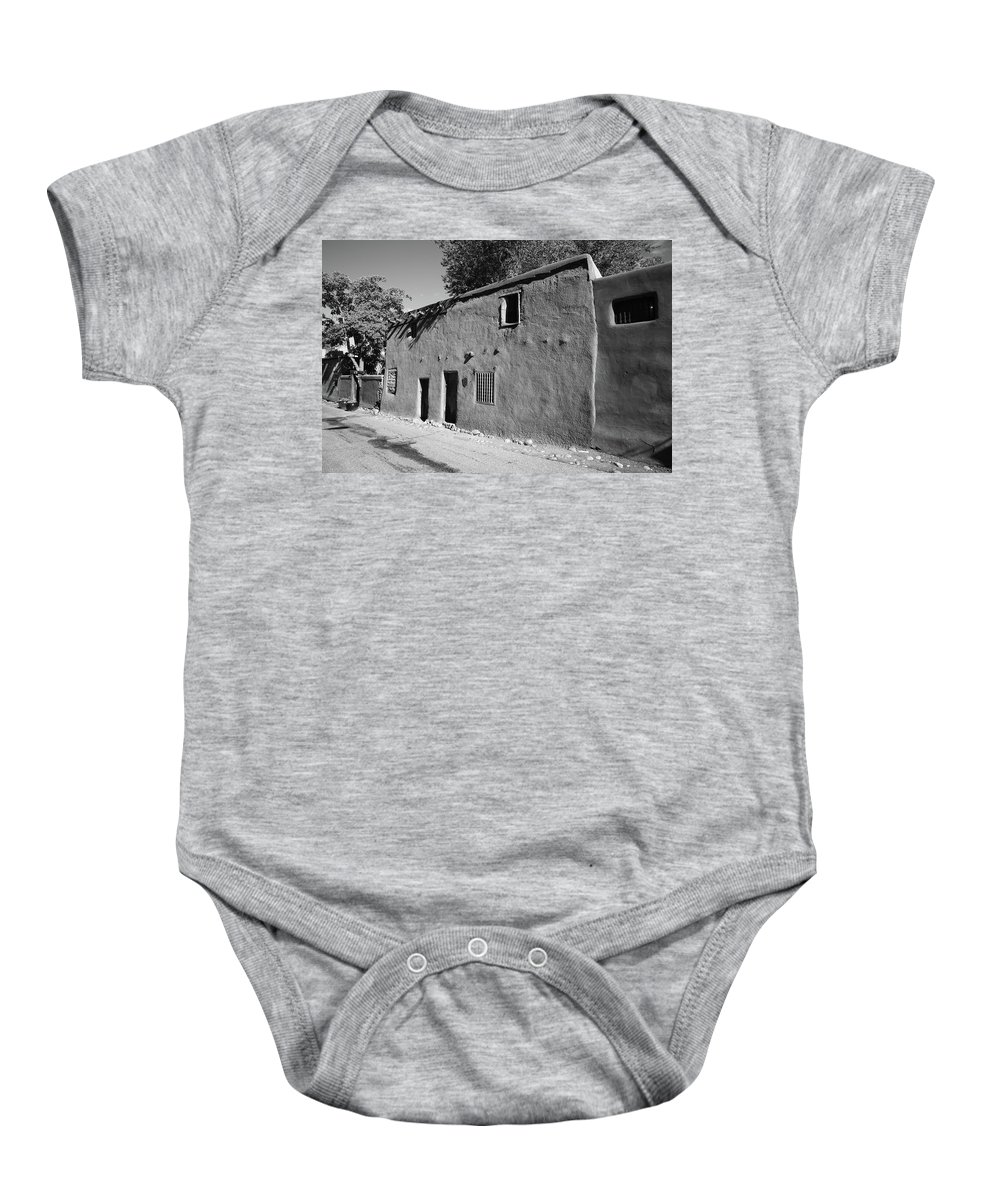 66 Baby Onesie featuring the photograph Santa Fe - Adobe Building by Frank Romeo