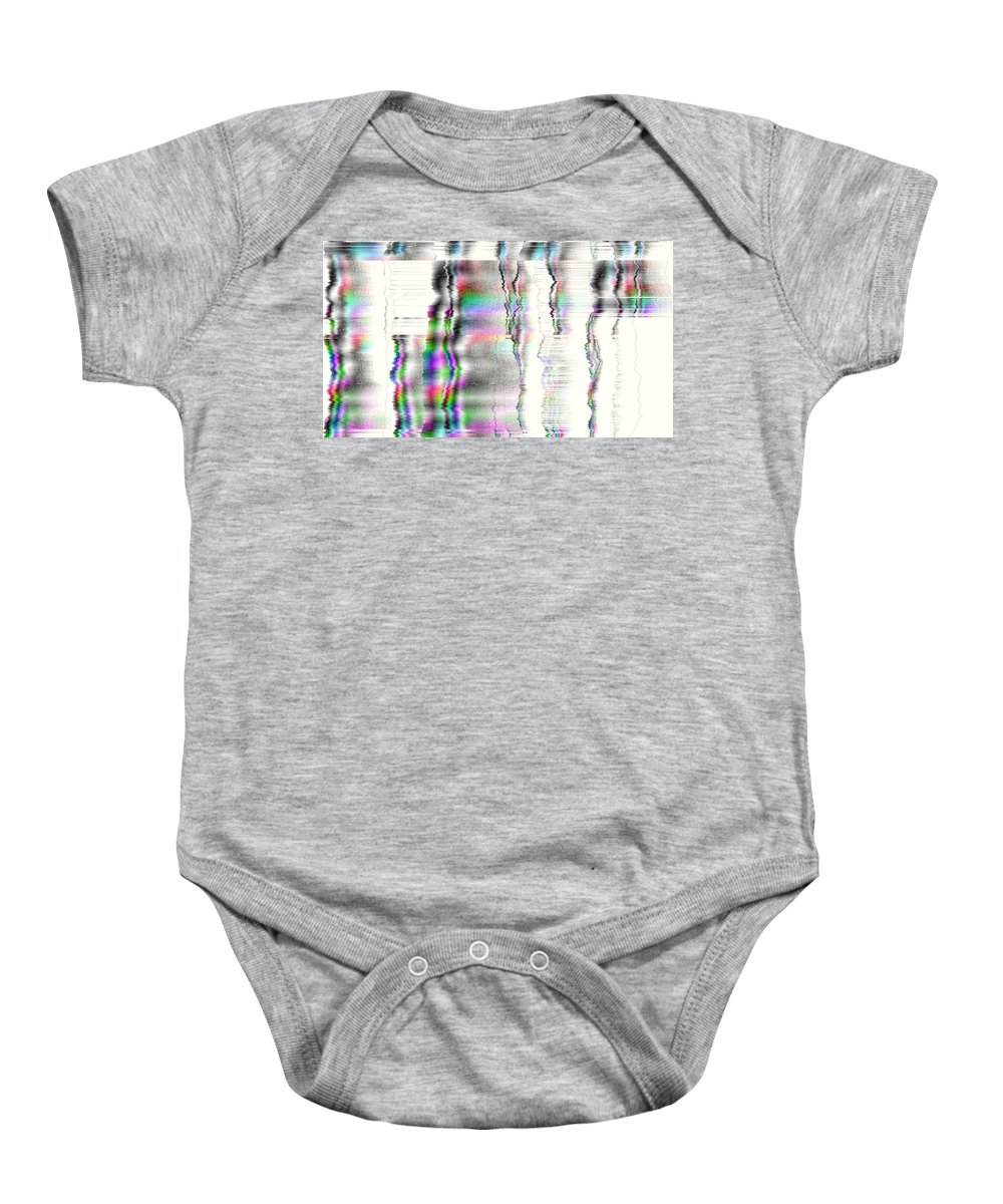 Rithmart Abstract Fade Fading Lines Organic Random Computer Digital Shapes Fading Layers Lines Reflected Baby Onesie featuring the digital art 16x9.179-#rithmart by Gareth Lewis