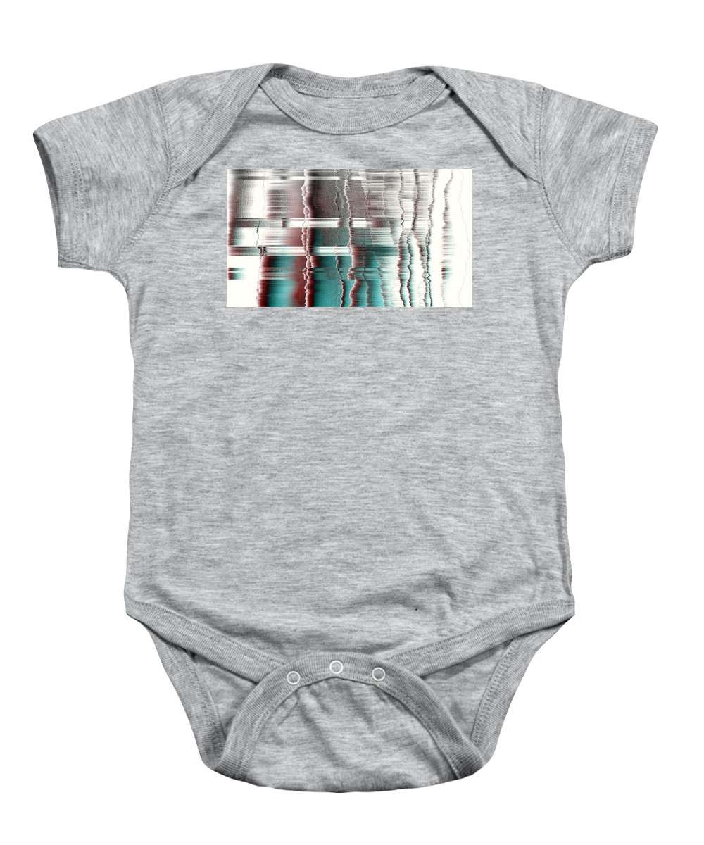 Rithmart Abstract Fade Fading Lines Organic Random Computer Digital Shapes Fading Layers Lines Reflected Baby Onesie featuring the digital art 16x9.185-#rithmart by Gareth Lewis