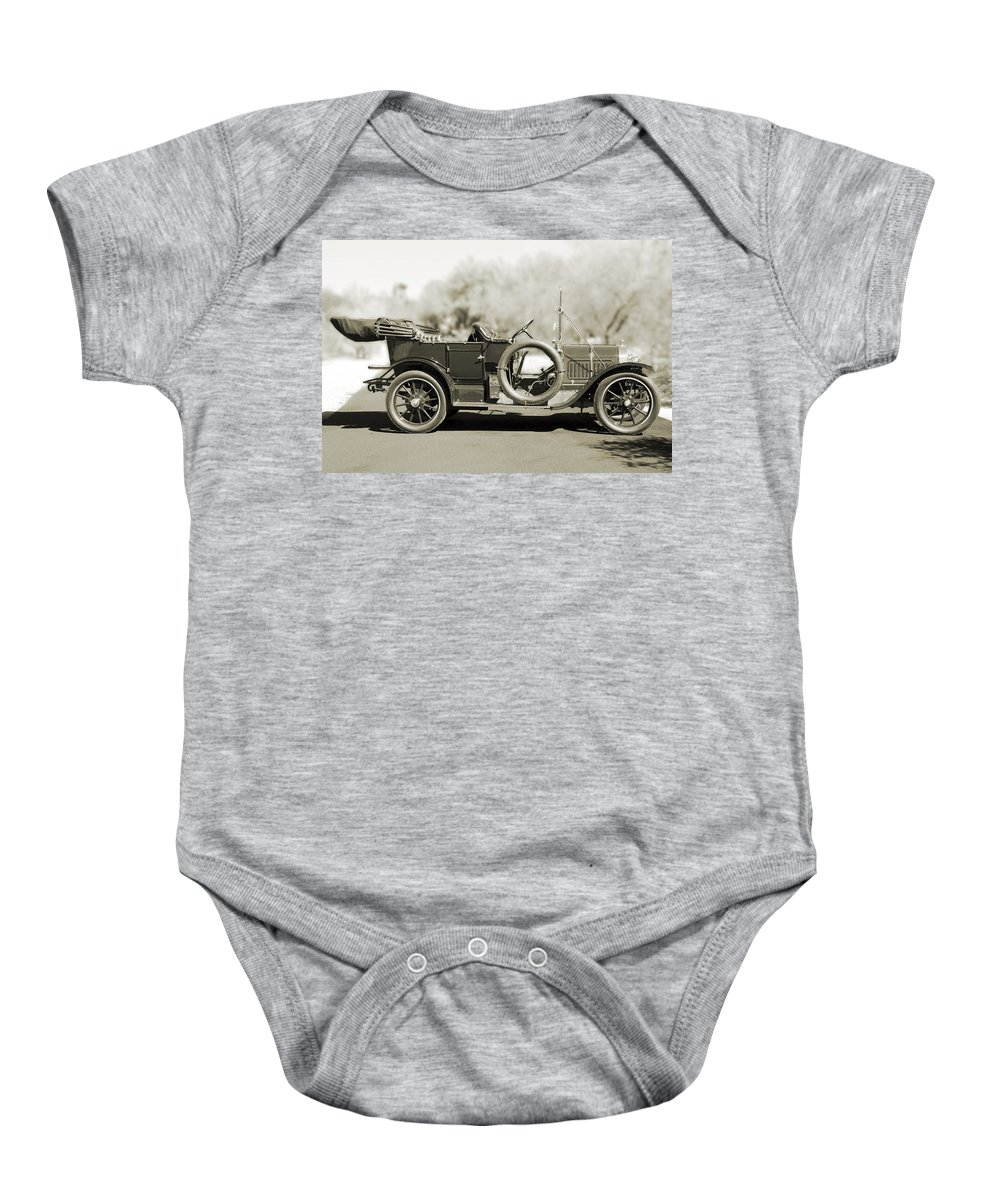 1910 Pope Hartford T Baby Onesie featuring the photograph 1910 Pope Hartford T Black And White by Jill Reger