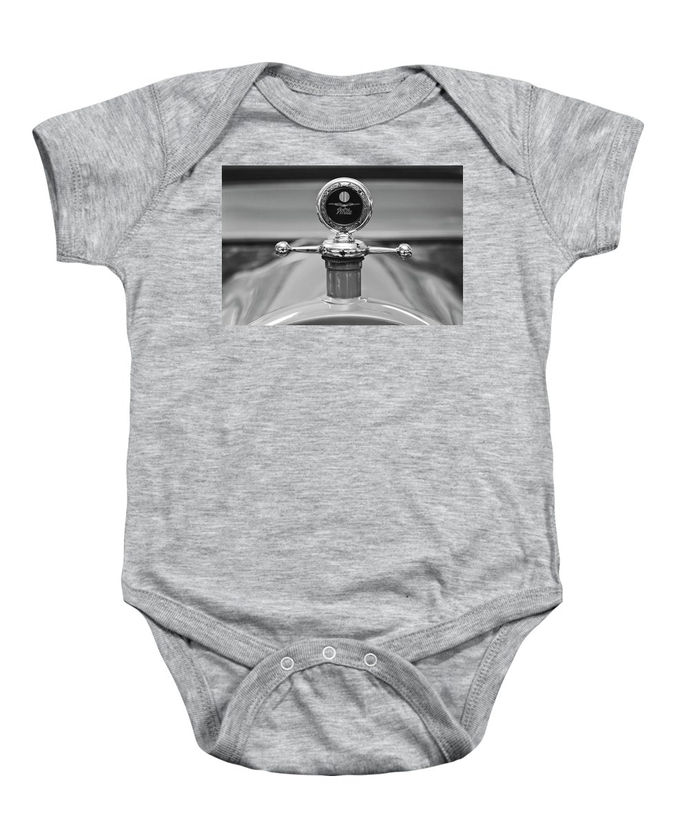 1913 White Gentleman's Roadster Baby Onesie featuring the photograph 1913 White Gentlemans's Roadster Hood Ornament 2 by Jill Reger