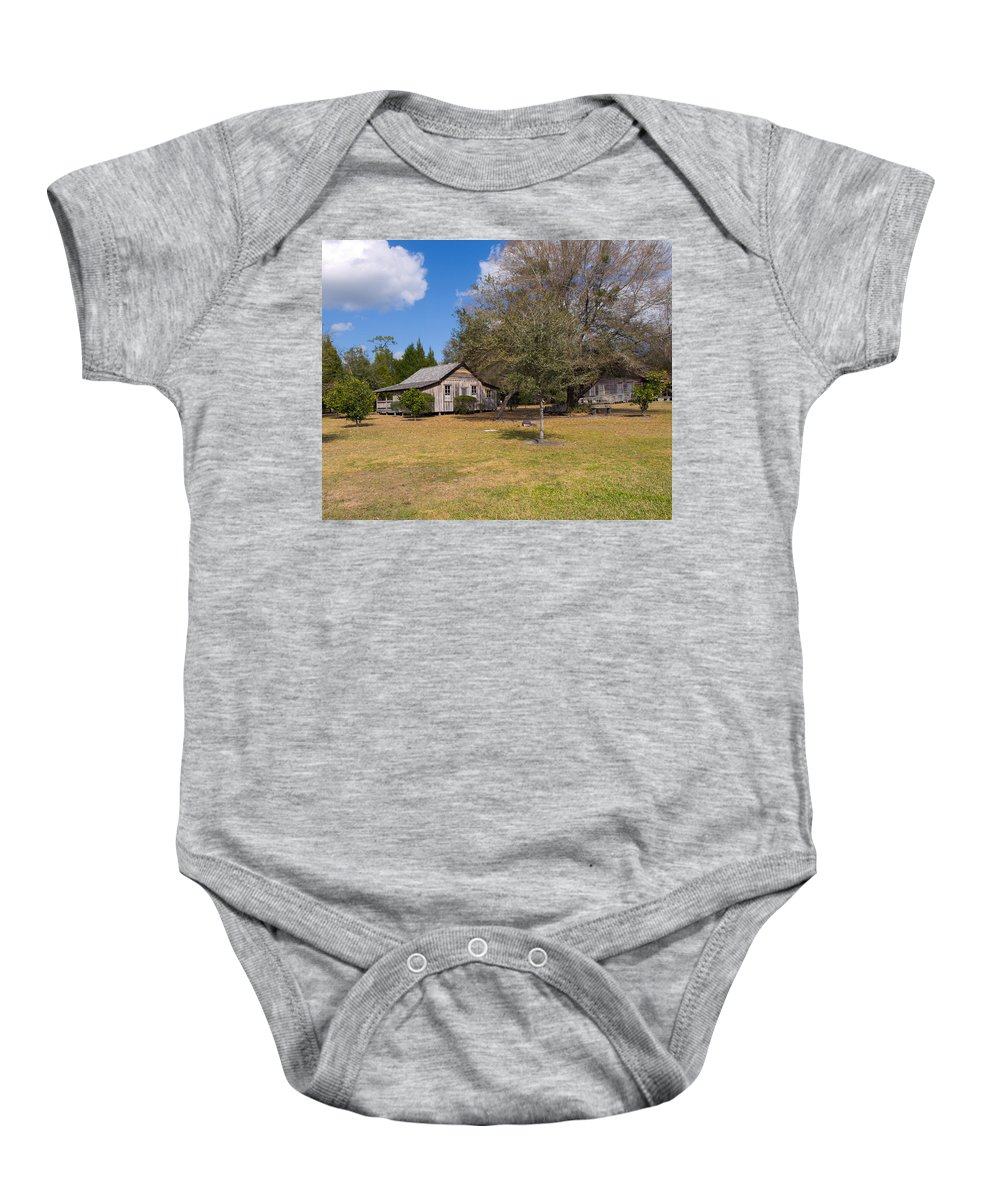 Cabin Baby Onesie featuring the photograph 1927 Woods Home In Christmas Florida by Allan Hughes