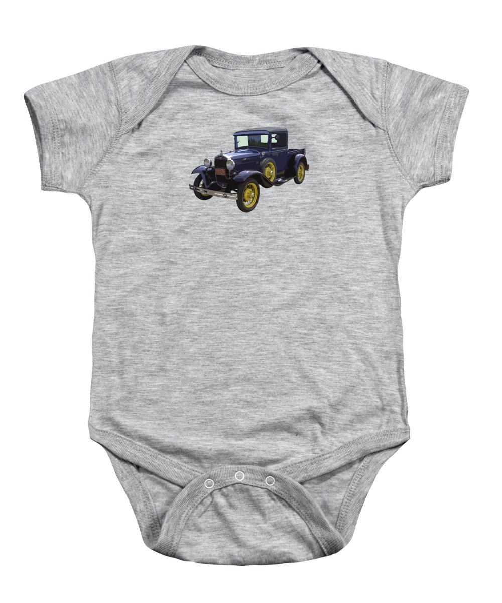 1930 Model A Ford Baby Onesie featuring the photograph 1930 - Model A Ford - Pickup Truck by Keith Webber Jr